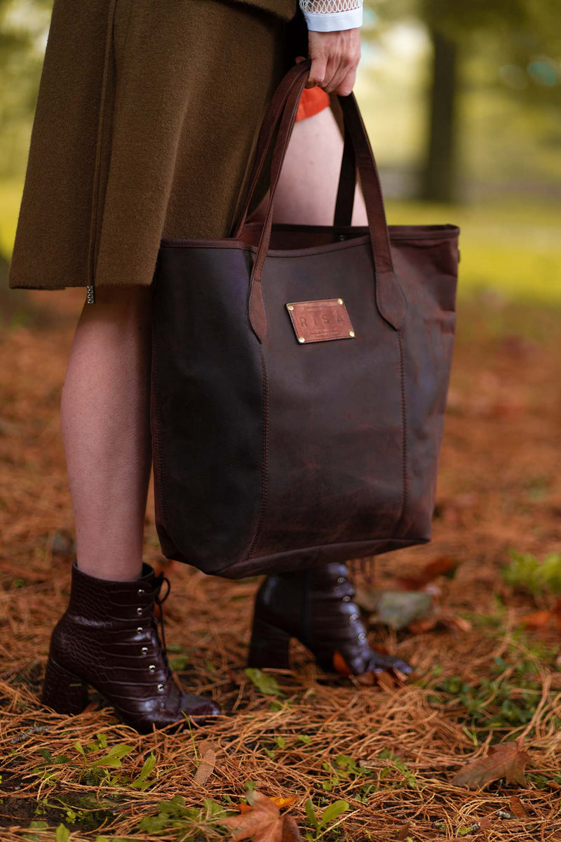 Marie Leather Tote (Coffee Brown)