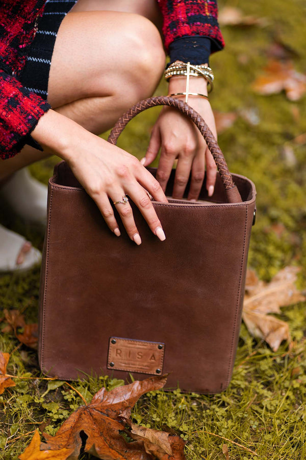 Camila Leather Shoulder Bag (Brown)