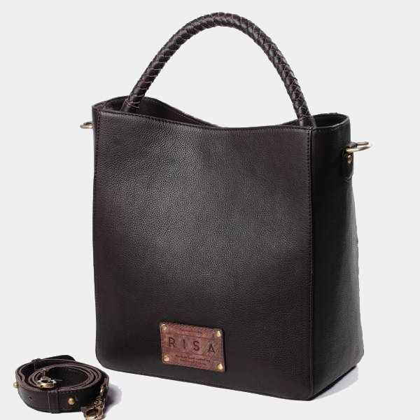 Camila Leather Shoulder Bag (Black)