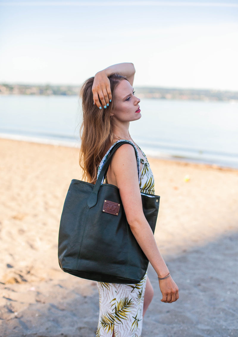 Marie Leather Tote (Hunter Green)