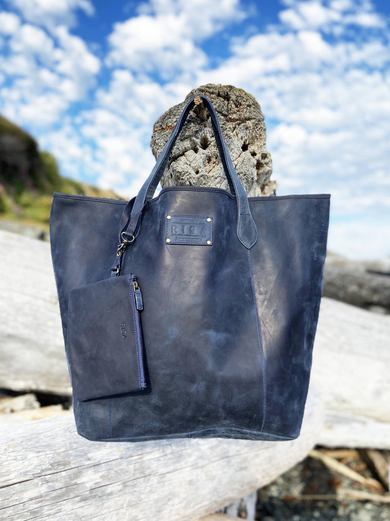 Leather Shopping Bag (Rachel Deep Blue)