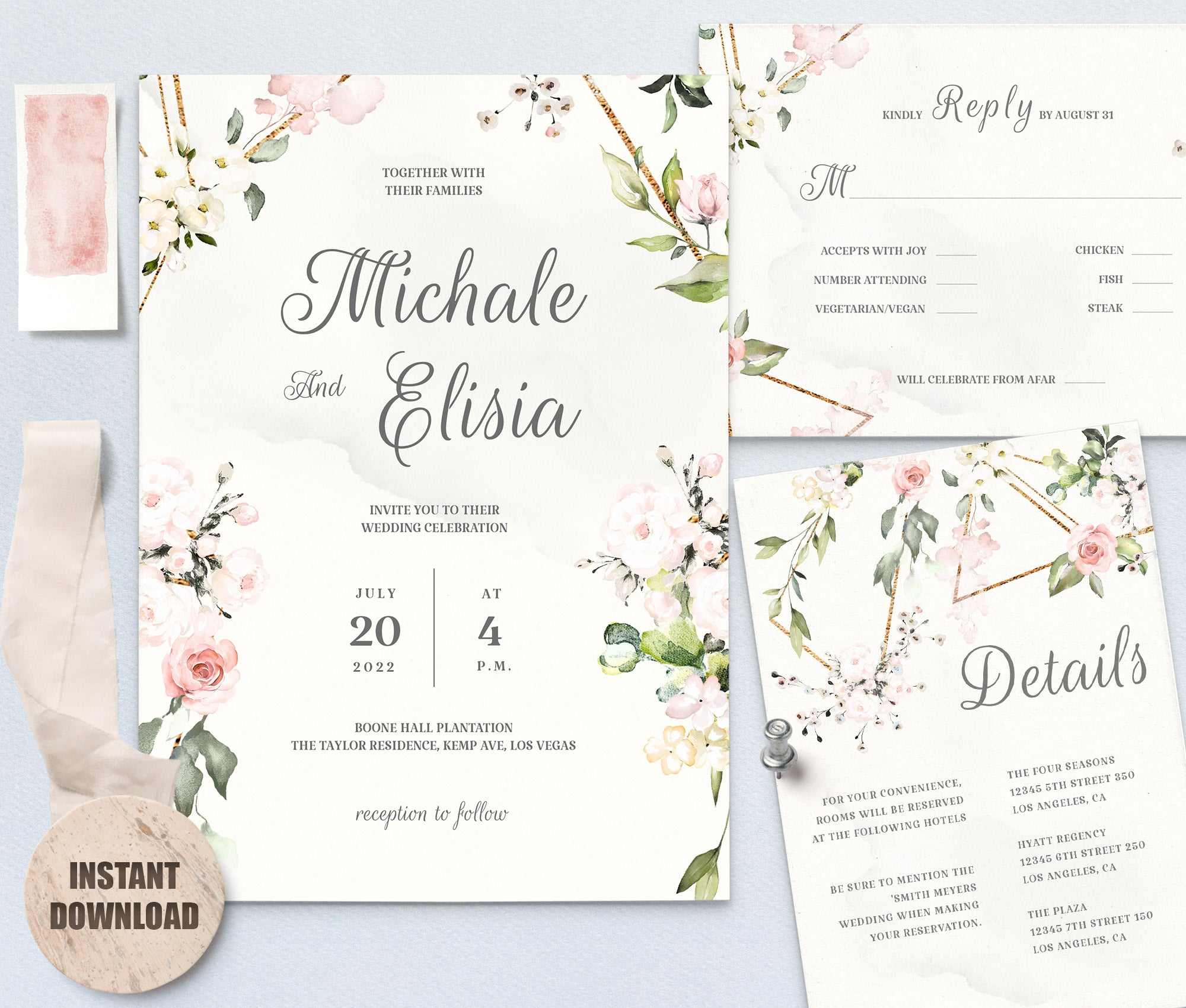 Elegant WEDDING INVITATION Template - Loval 7
