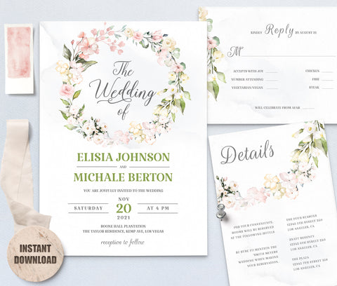Elegant WEDDING INVITATION Template - Loval 8