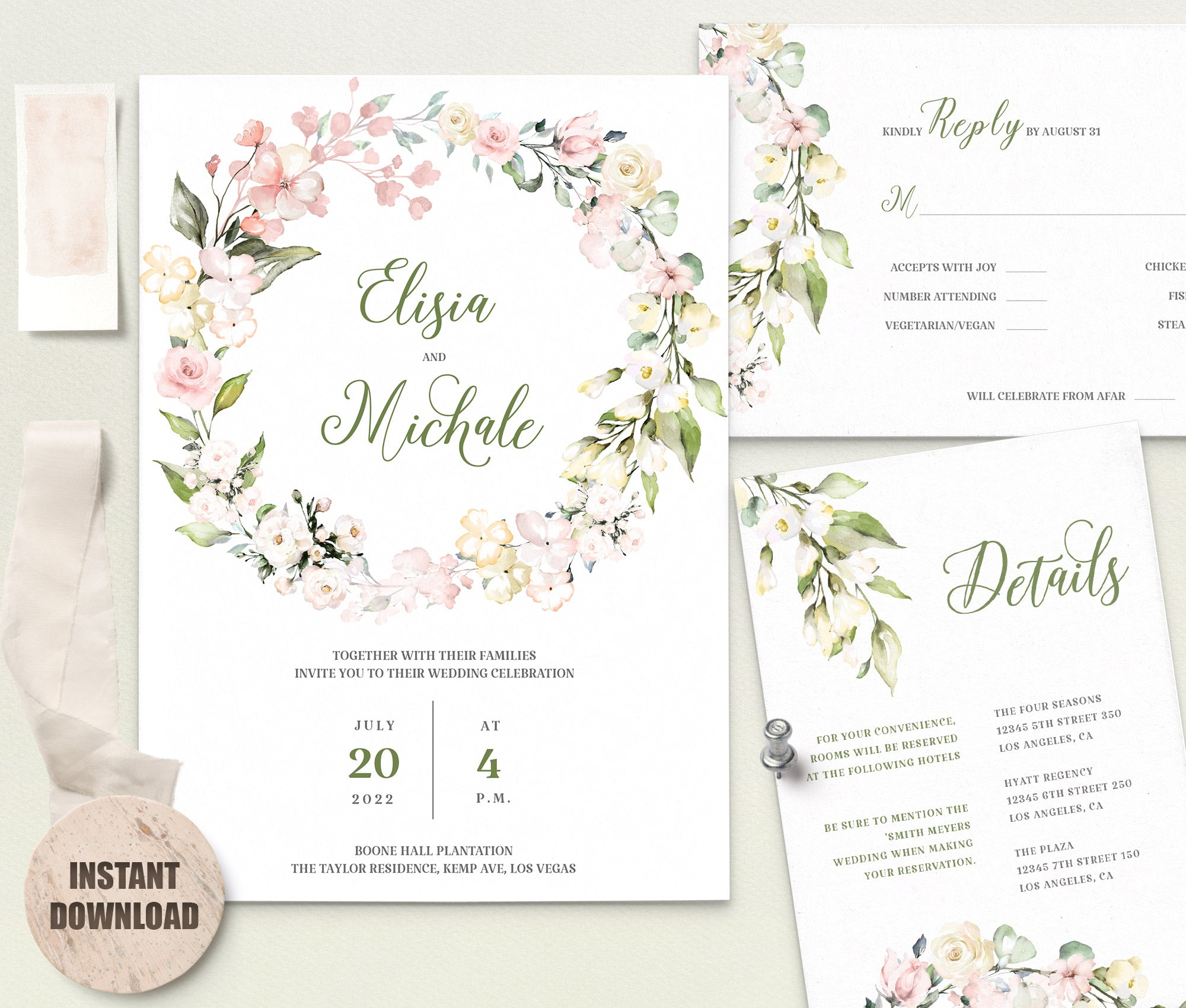 Elegant WEDDING INVITATION Template - Loval 6