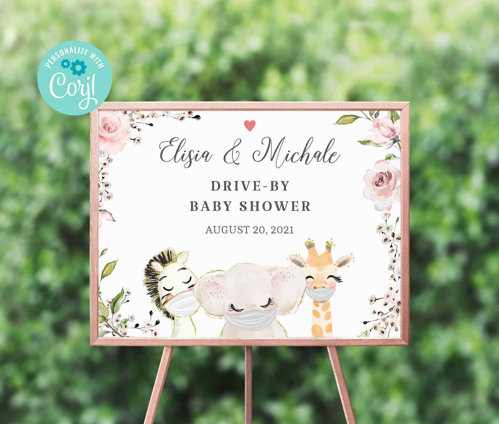 Drive By Baby Shower Welcome Sign Printable • Editable Sign • Quarantine Baby Animals • Social Distancing Party • Instant Download BS3601