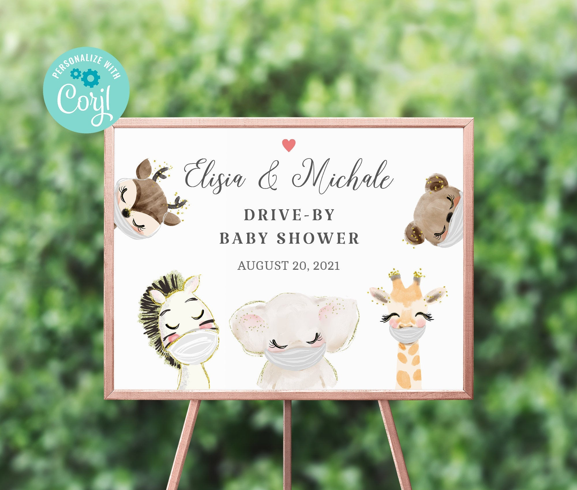 Drive By Baby Shower Welcome Sign Printable • Editable Sign • Quarantine Baby Animals • Social Distancing Party - Instant Download BS3601