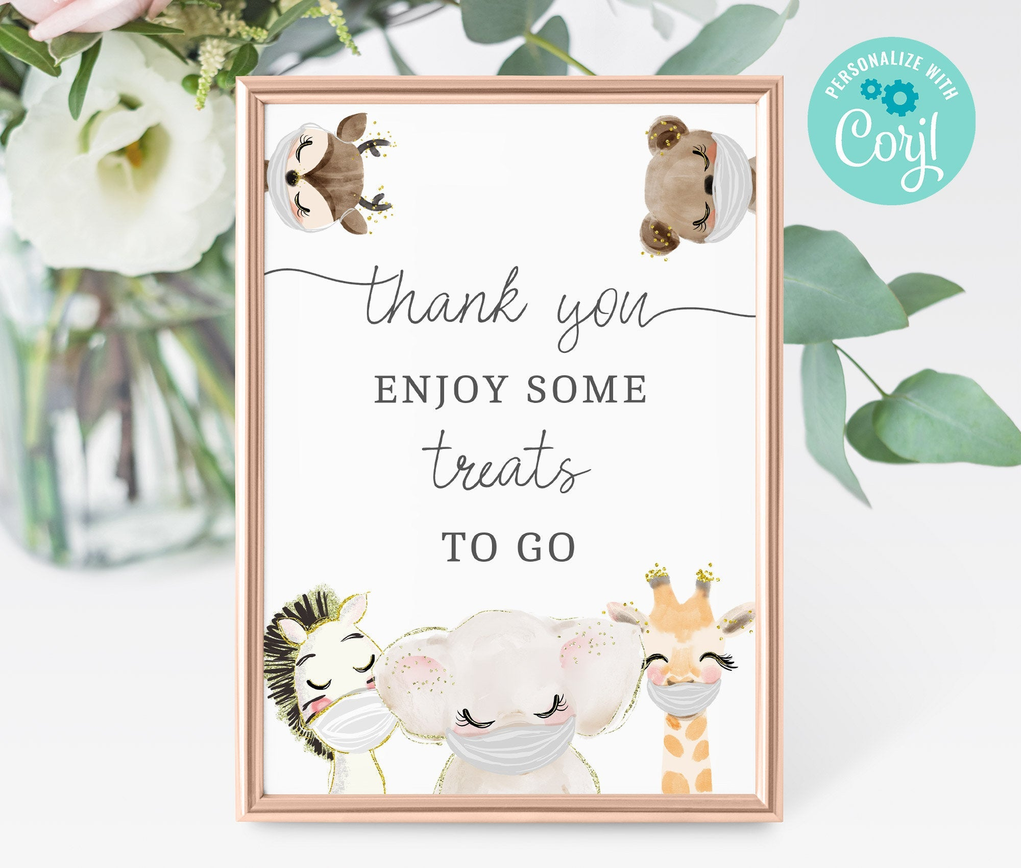Drive By Baby Shower Treat Favors Sign Printable • Editable Sign • Quarantine Baby Animal • Social Distancing Party • Instant - BS3601