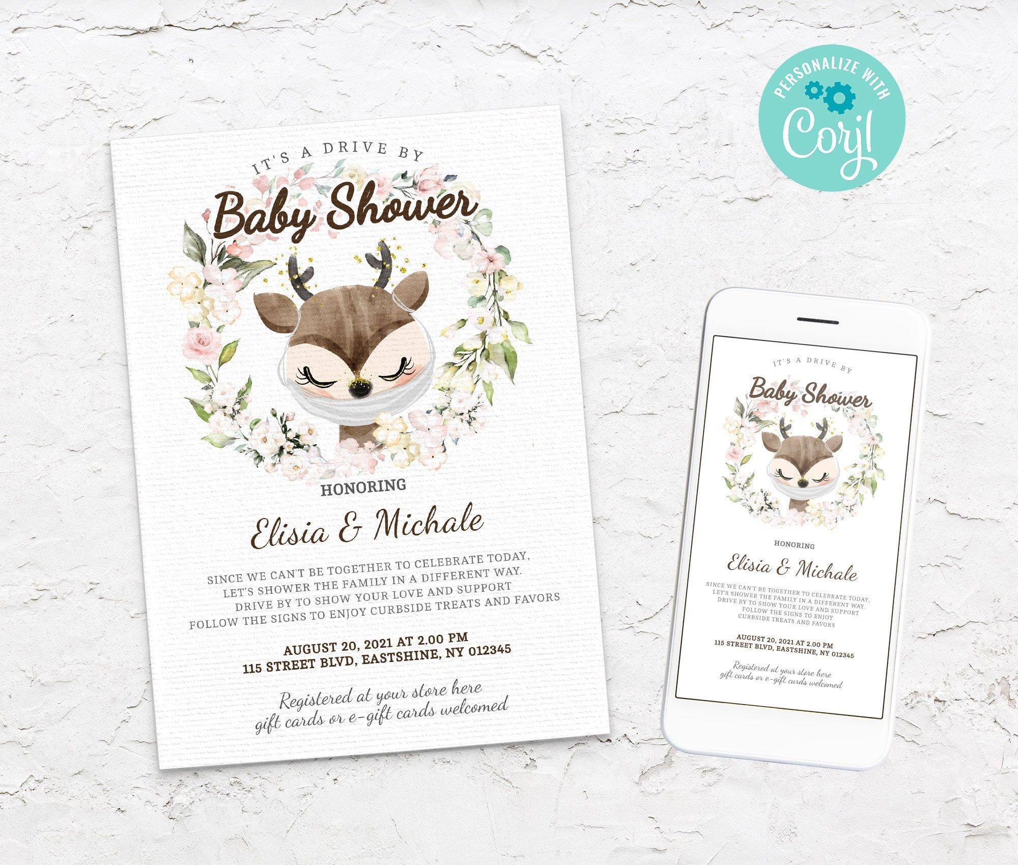 Editable Drive By Baby Shower Raindeer Invitation - Animals Drive Through Baby Shower - Social Distancing Baby Shower - Instant BS3601 4
