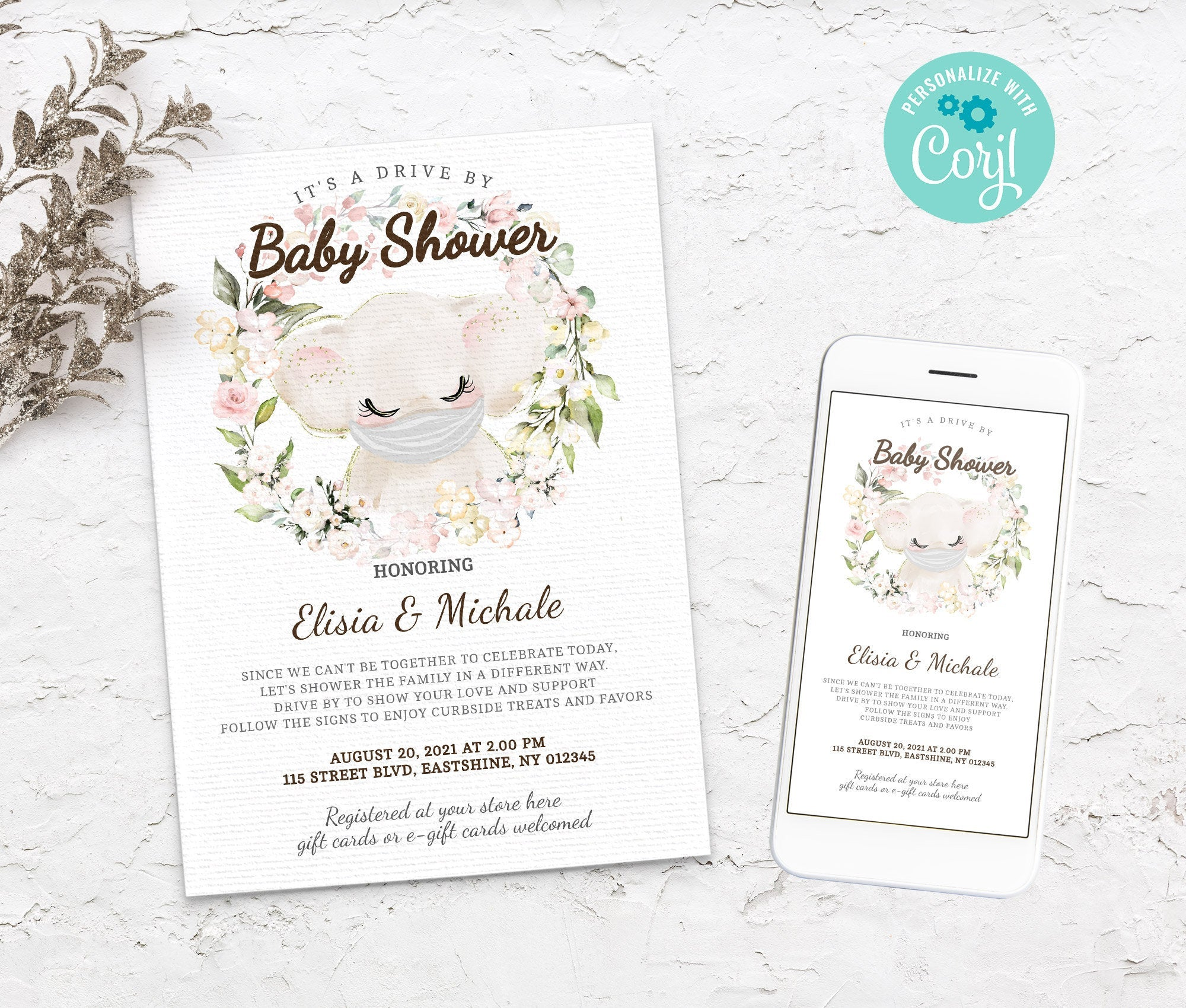 Editable Drive By Baby Shower Elephant Invitation - Animals Drive Through Baby Shower - Social Distancing Baby Shower - Instant BS3601 5