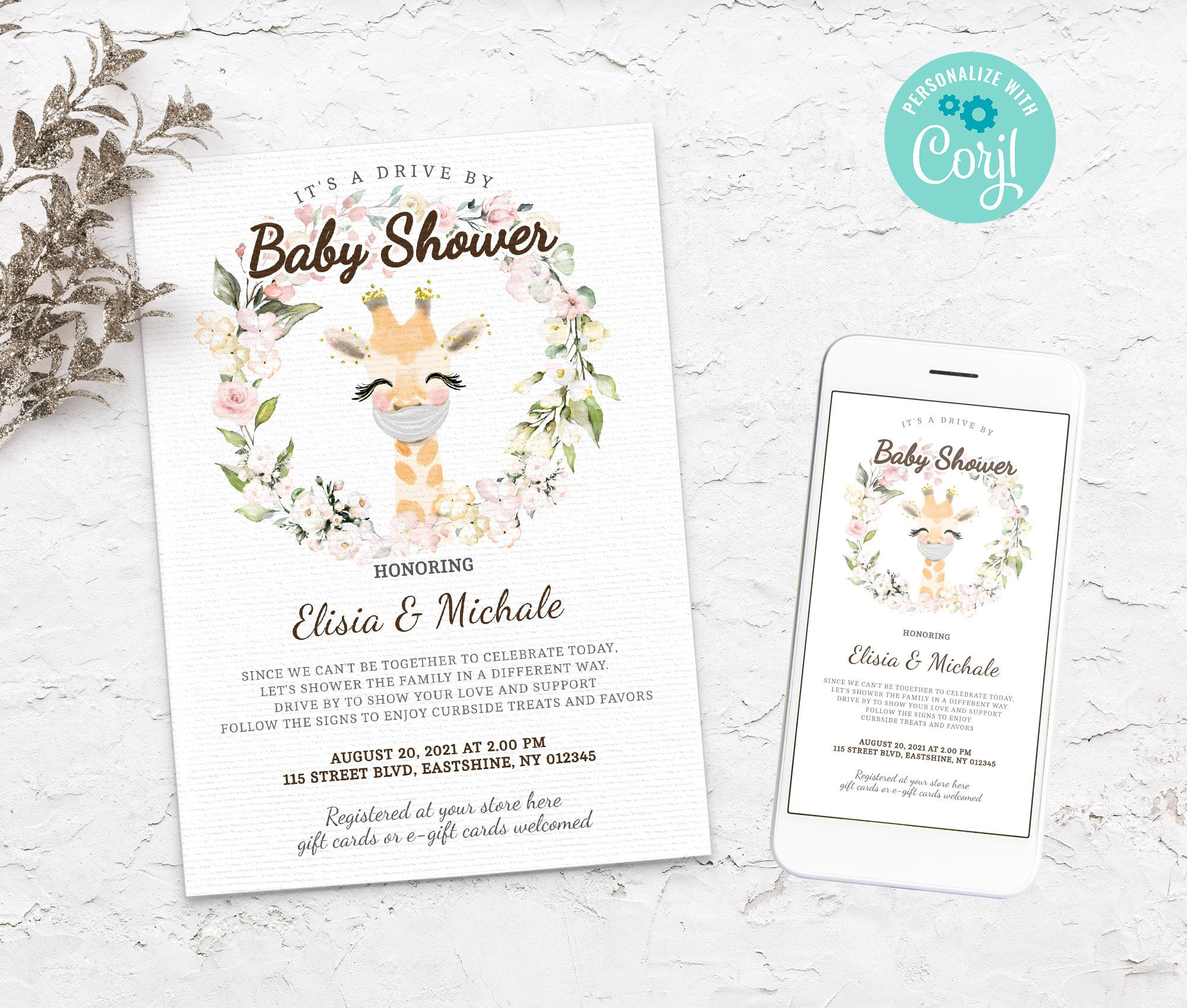 Editable Drive By Baby Shower Giraffe Invitation - Animals Drive Through Baby Shower - Social Distancing Baby Shower - Instant  BS3601 6