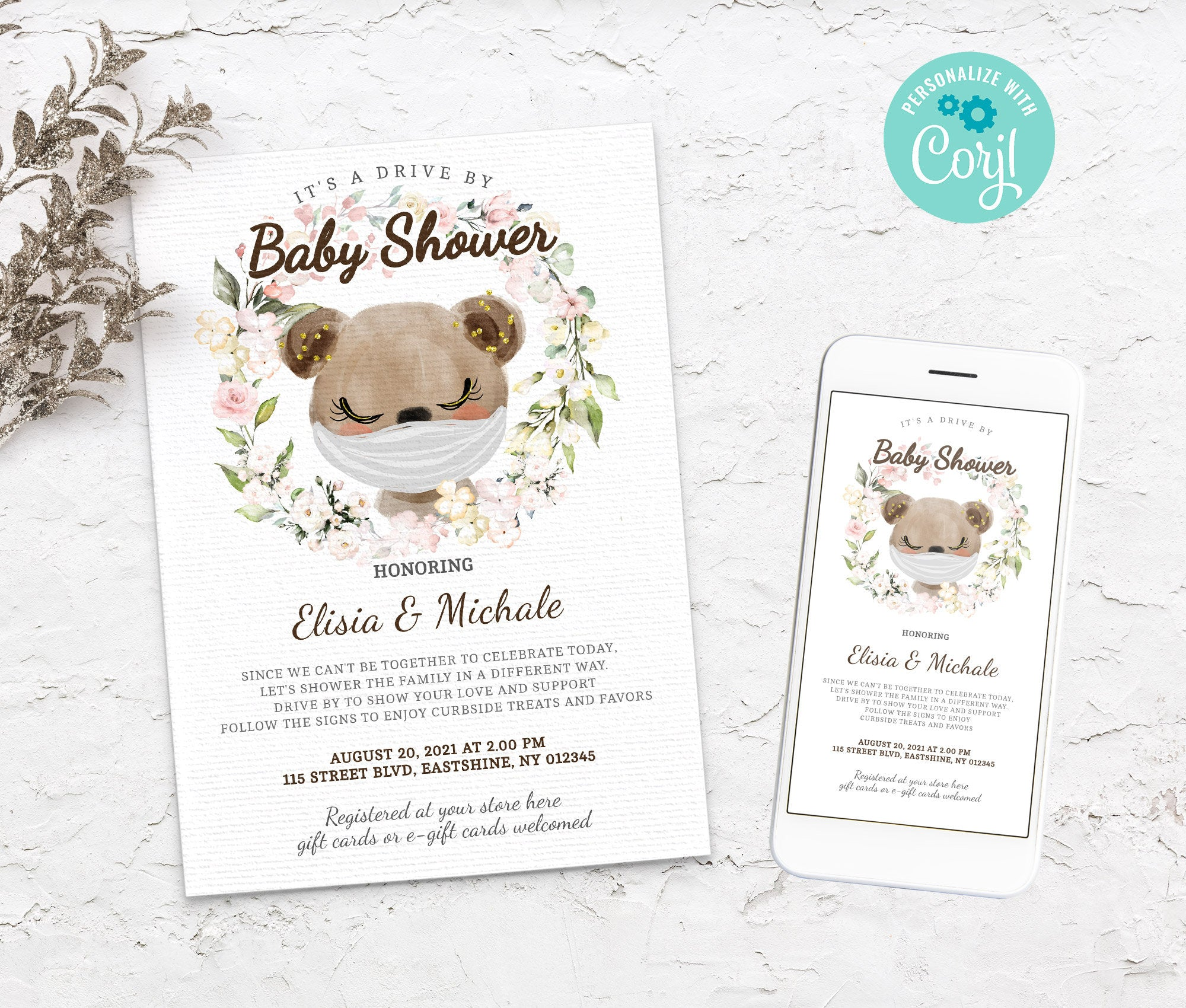 Editable Drive By Baby Shower Bear Invitation - Animals Drive Through Baby Shower - Social Distancing Baby Shower - Instant  BS3601 7