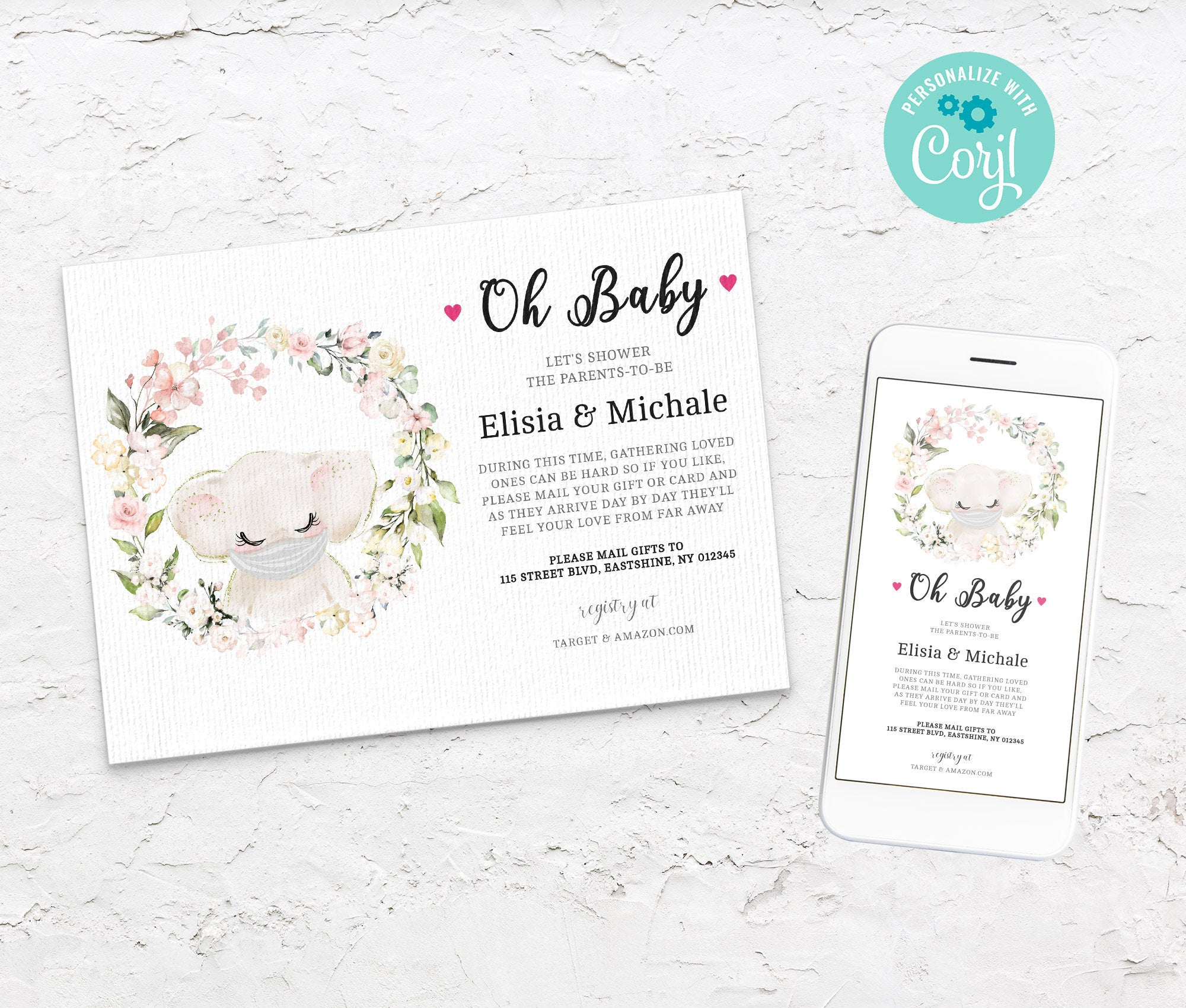 Baby Shower by Mail Template Elephant, Animal Baby shower invitation, Shower by Mail, Shower Evite, Editable, Instant Download - 3609 BS3601