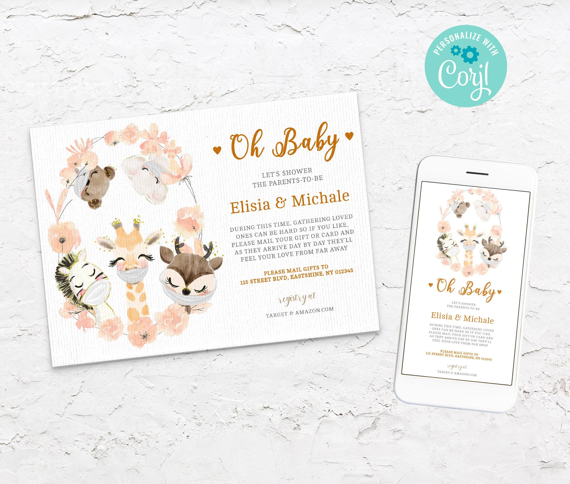 Baby Shower by Mail Template - Animal Baby shower invitation - Shower by Mail, Shower Evite - Editable Text - Instant Download - 3608 BS3601