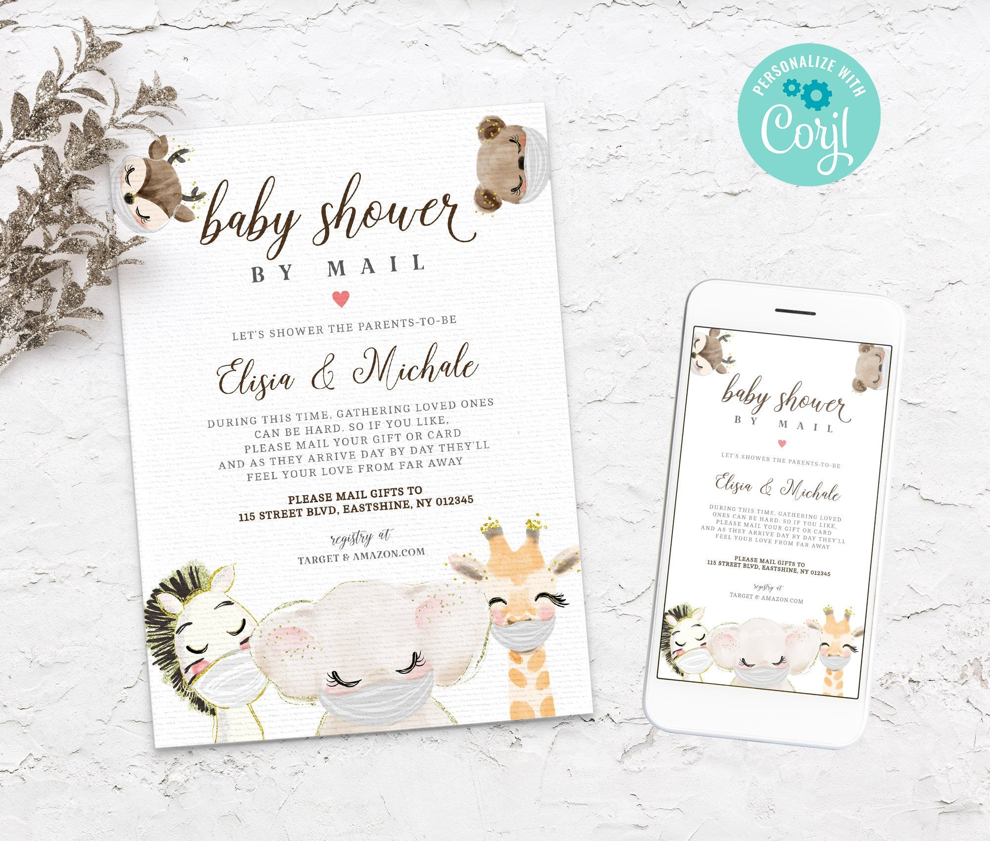 Baby Shower by Mail Template - Baby shower invitation - Shower by Mail - Baby Shower invite - Editable Text - Instant Download - 3607 BS3601