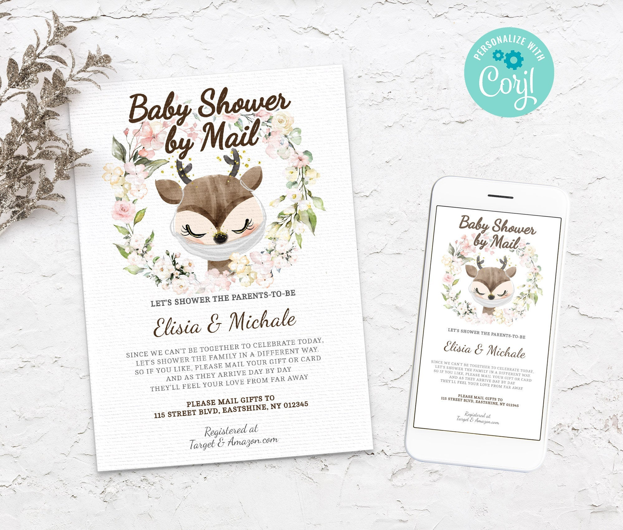 Baby Shower by Mail Raindeer Template - Baby shower invitation - Shower by Mail, Shower invite,  Editable Text, Instant Download,3614 BS3601