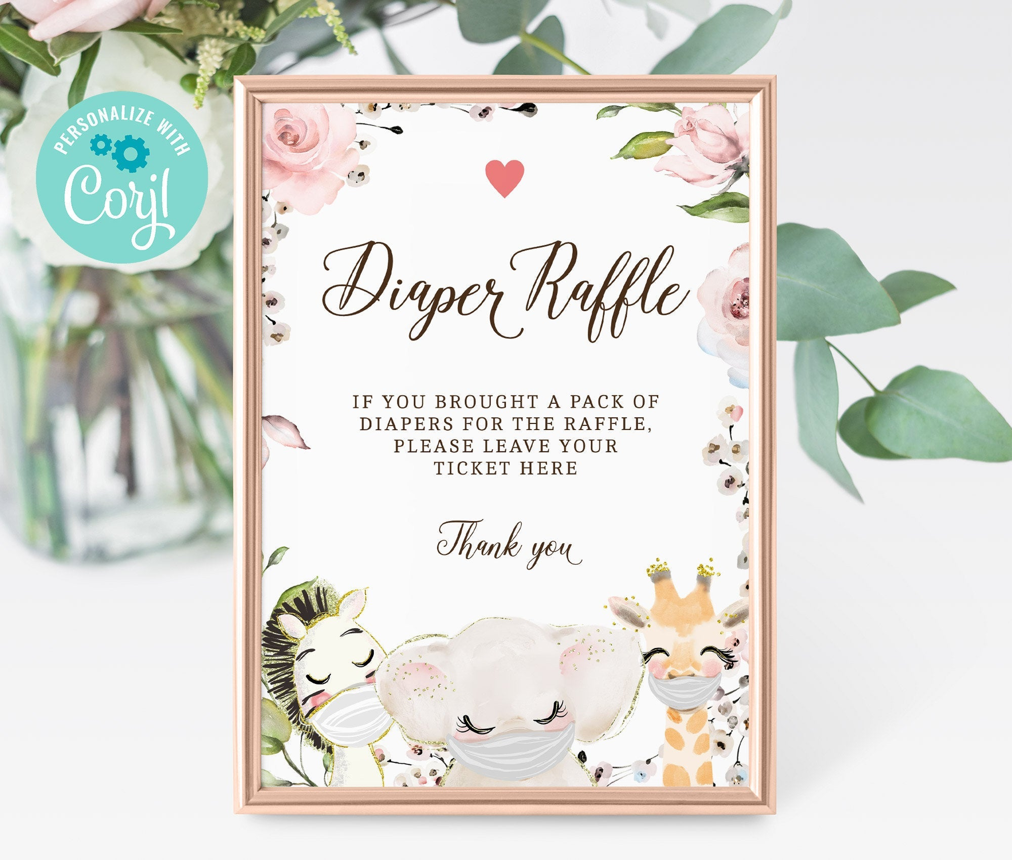 Diaper Raffle Sign - Baby Shower Diaper Raffle Sign - Printable Baby Shower Sign - Editable - Instant Download - BS3602 - 3601