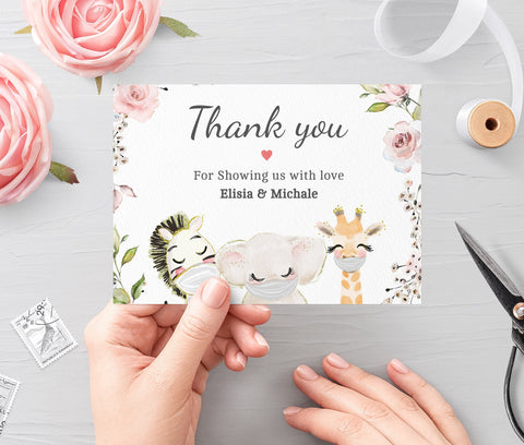 Drive By Baby Shower Editable Thank You Card Template • Printable Folded Thank You • Cards Quarantine Baby Animals • Instant Download BS3601