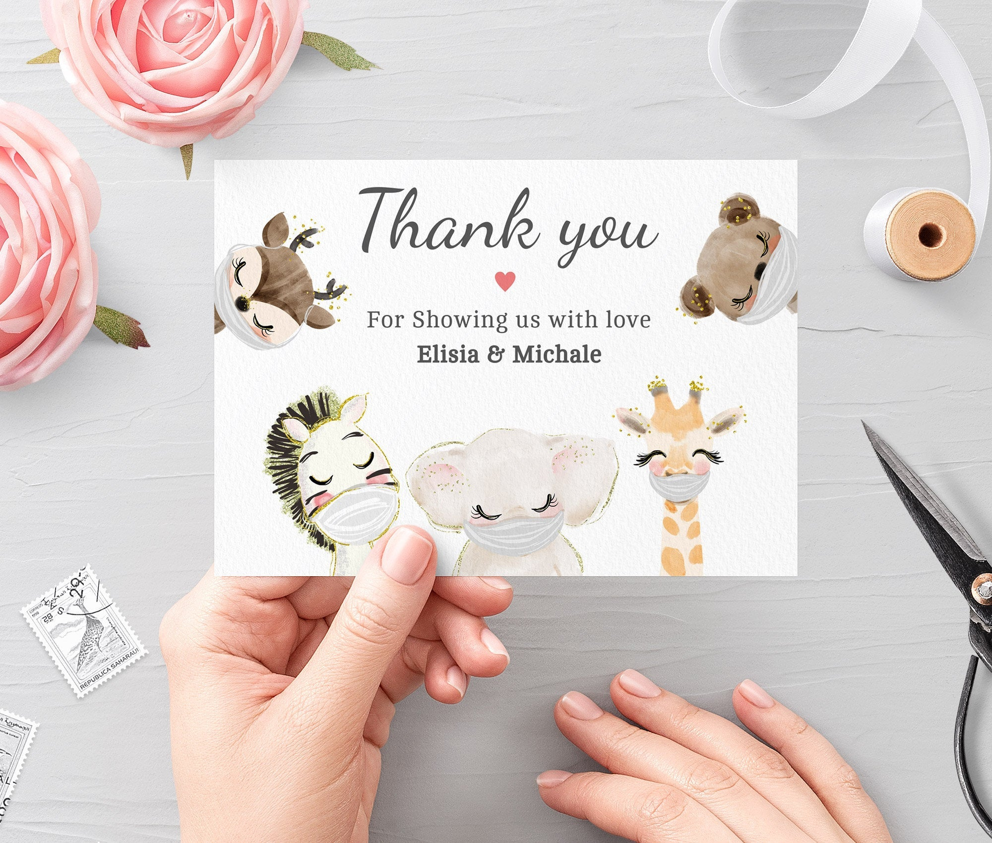 Drive By Baby Shower Editable Thank You Card Template • Printable Folded Thank You • Cards Quarantine Baby Animal • Instant Download BS3601