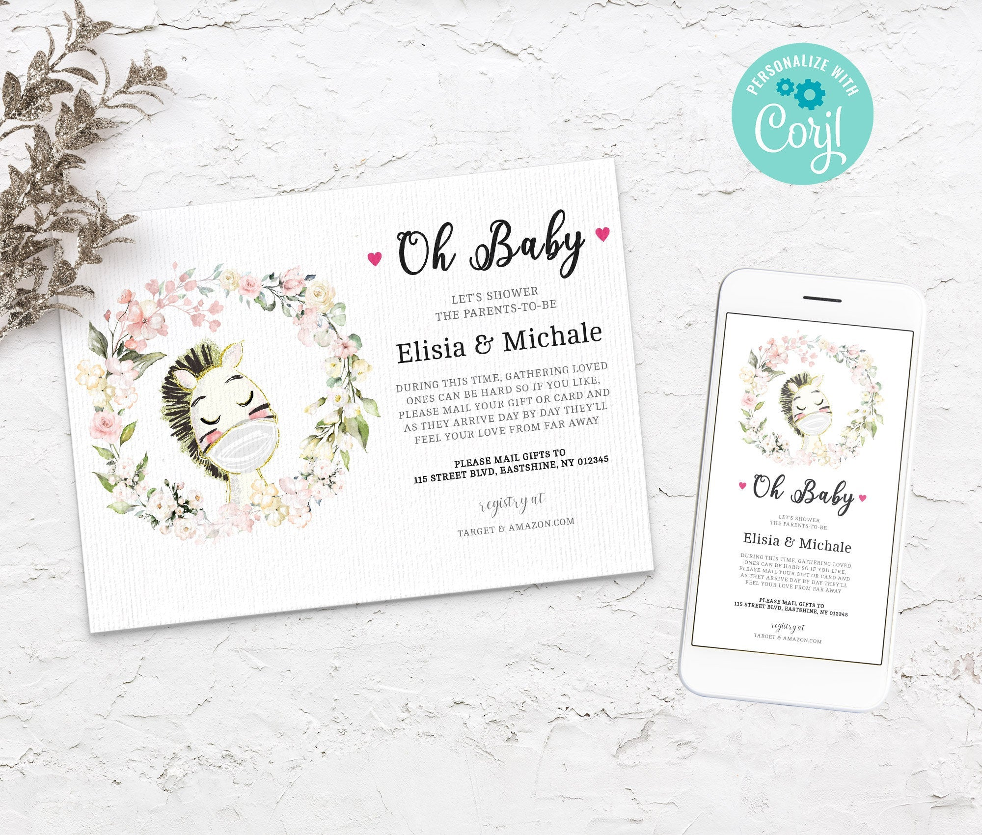 Baby Shower by Mail Template Horse - Animal Baby shower invitation, Shower by Mail, Shower Evite - Editable - Instant Download - 3613 BS3601