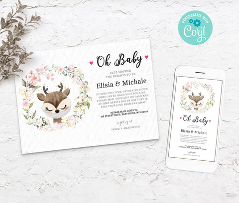 Baby Shower by Mail Template Raindeer, Animal Baby shower invitation, Shower by Mail, Shower Evite, Editable, Instant Download - 3612 BS3601
