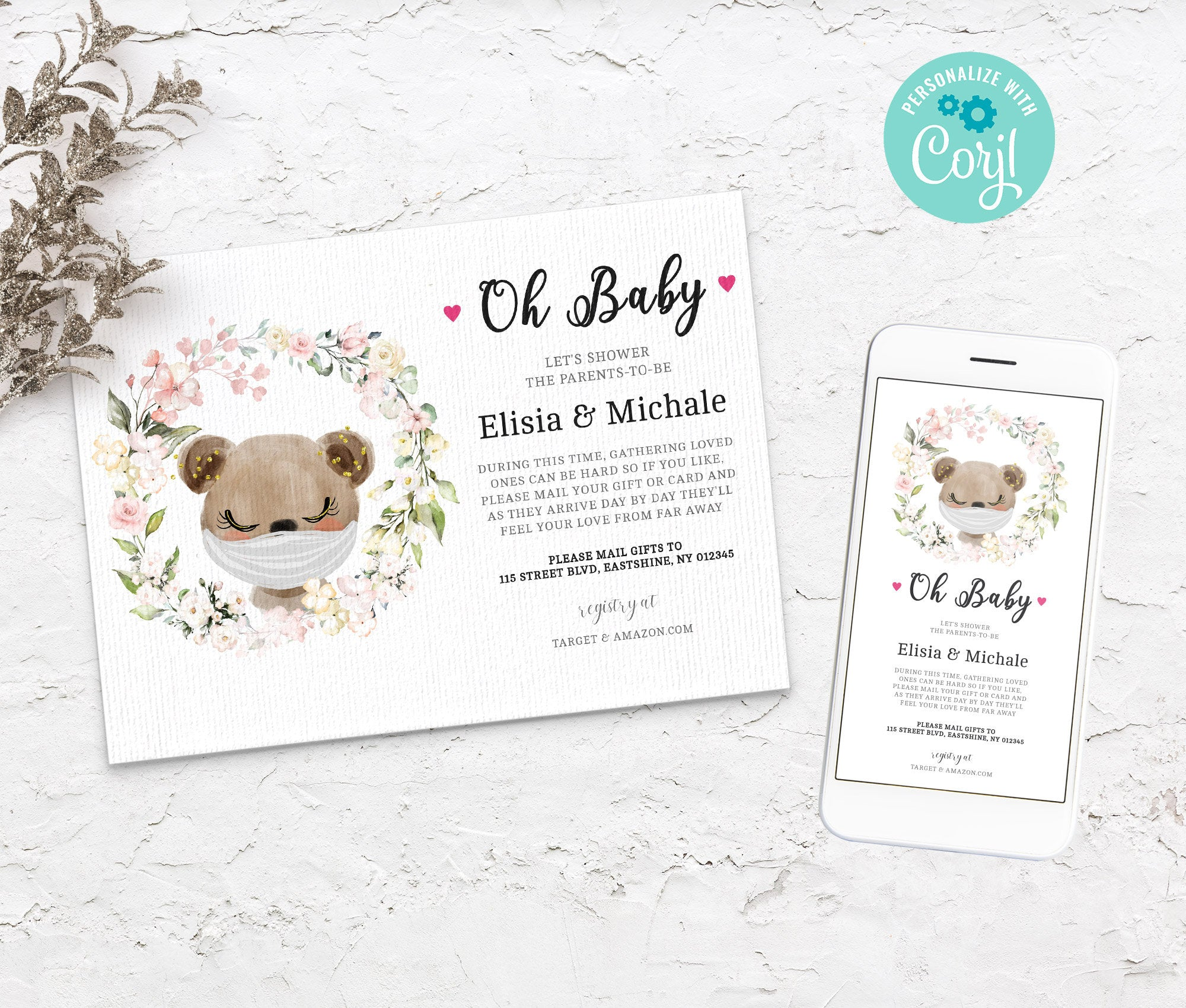 Baby Shower by Mail Template Bear, Animal Baby shower invitation, Shower by Mail, Shower Evite, Editable, Instant Download - 3611 BS3601