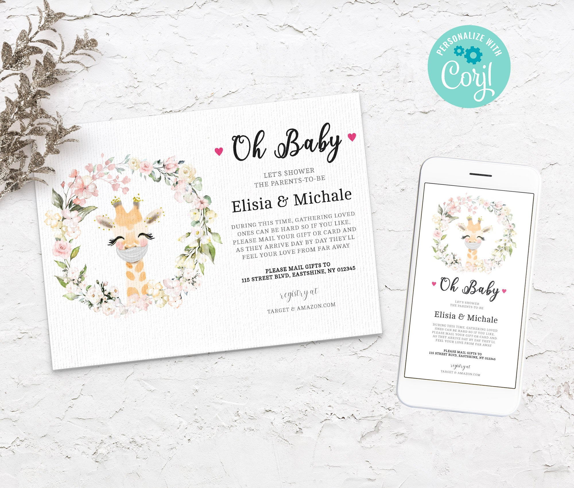 Baby Shower by Mail Template Giraffe, Animal Baby shower invitation, Shower by Mail, Shower Evite, Editable, Instant Download - 3610 BS3601