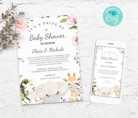 Editable Drive By Baby Shower Invitation - Animal Drive Through Baby Shower Invitation - Social Distancing Baby Shower - Instant BS3601