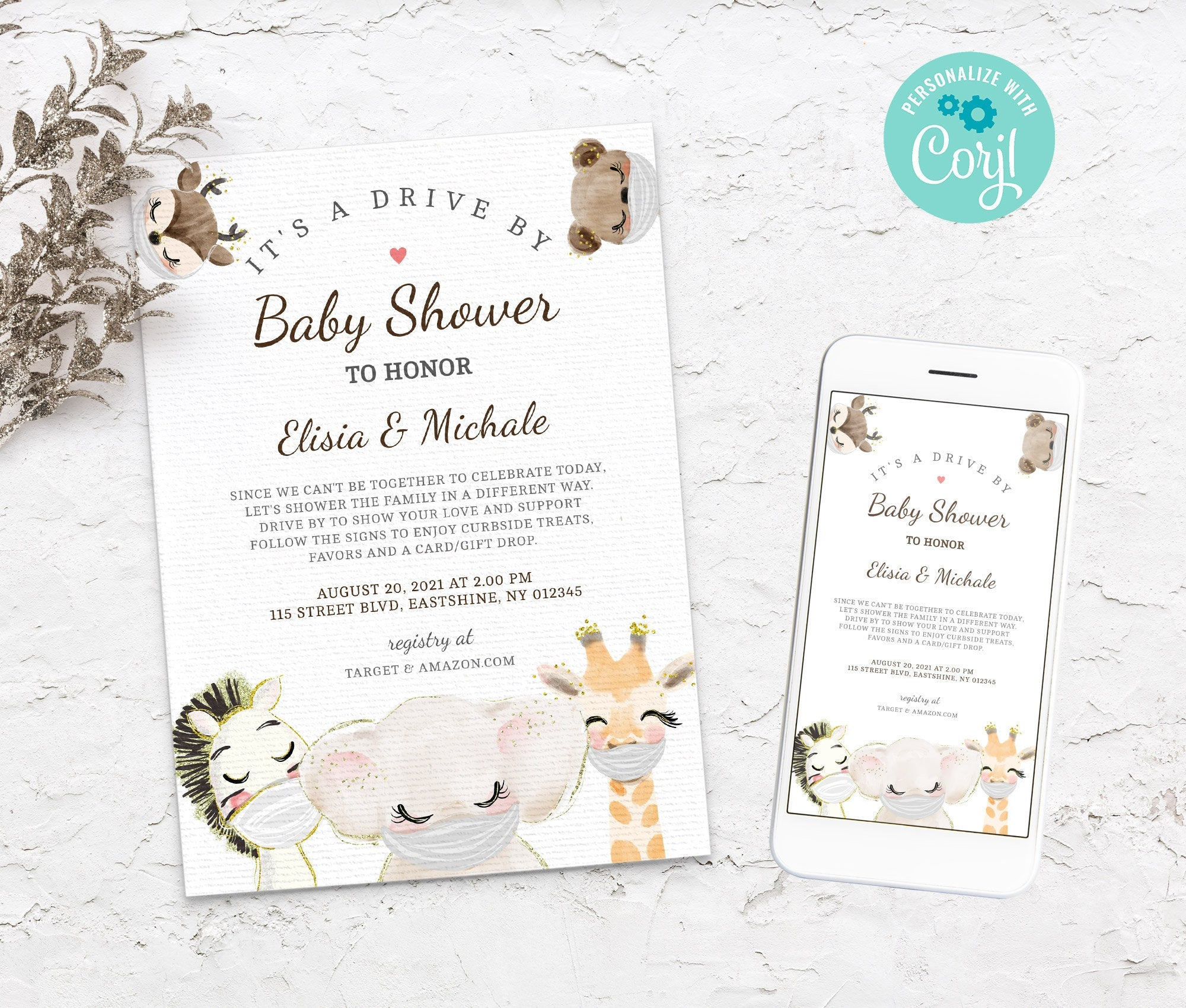 Editable Drive By Baby Shower Invitation - Animals Drive Through Baby Shower Invitation - Social Distancing Baby Shower - Instant BS3601