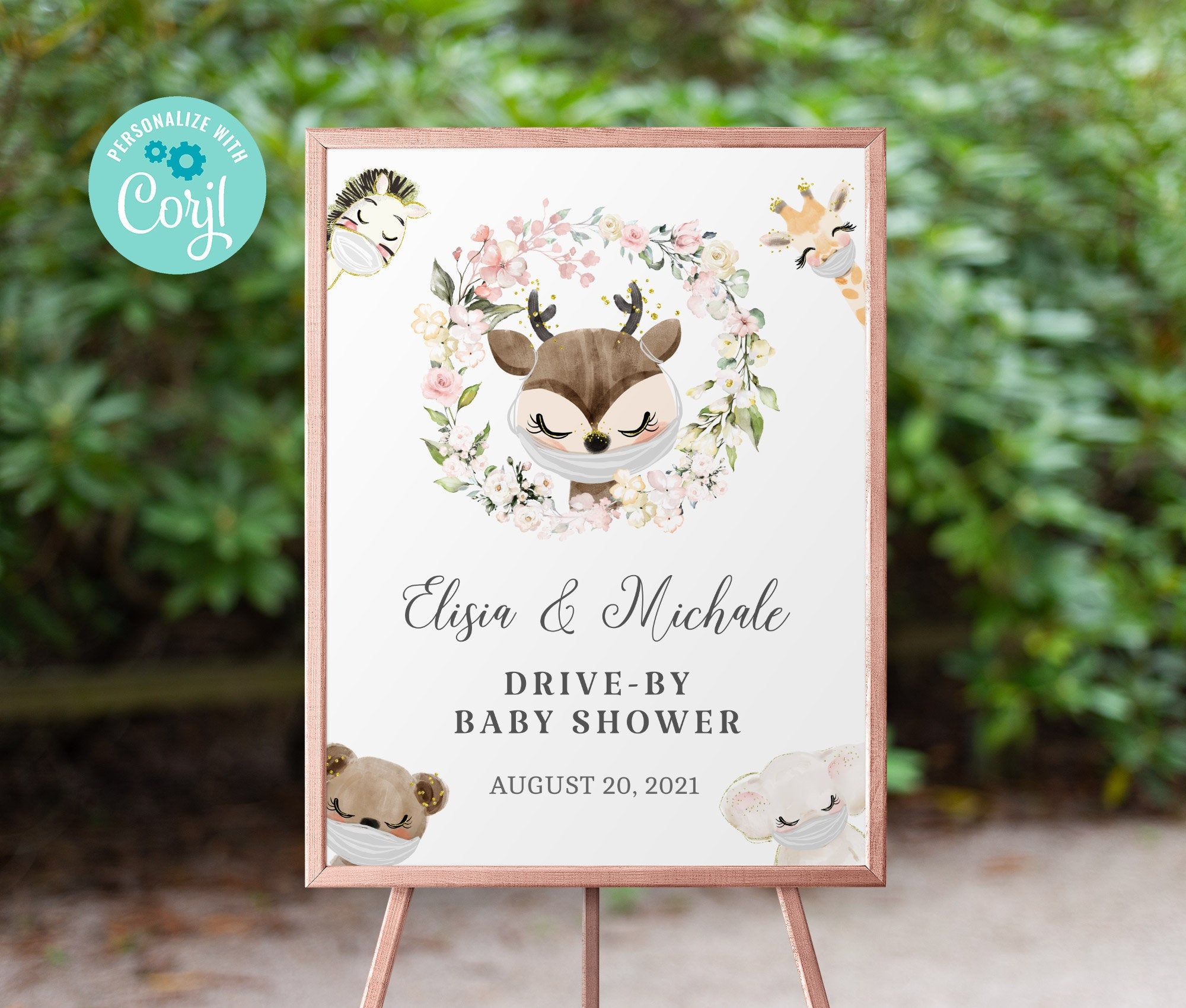 Drive By Baby Shower Welcome Sign Printable •  Raindeer Editable Sign • Quarantine Baby Animals • Social Distancing Party • Instant BS3601