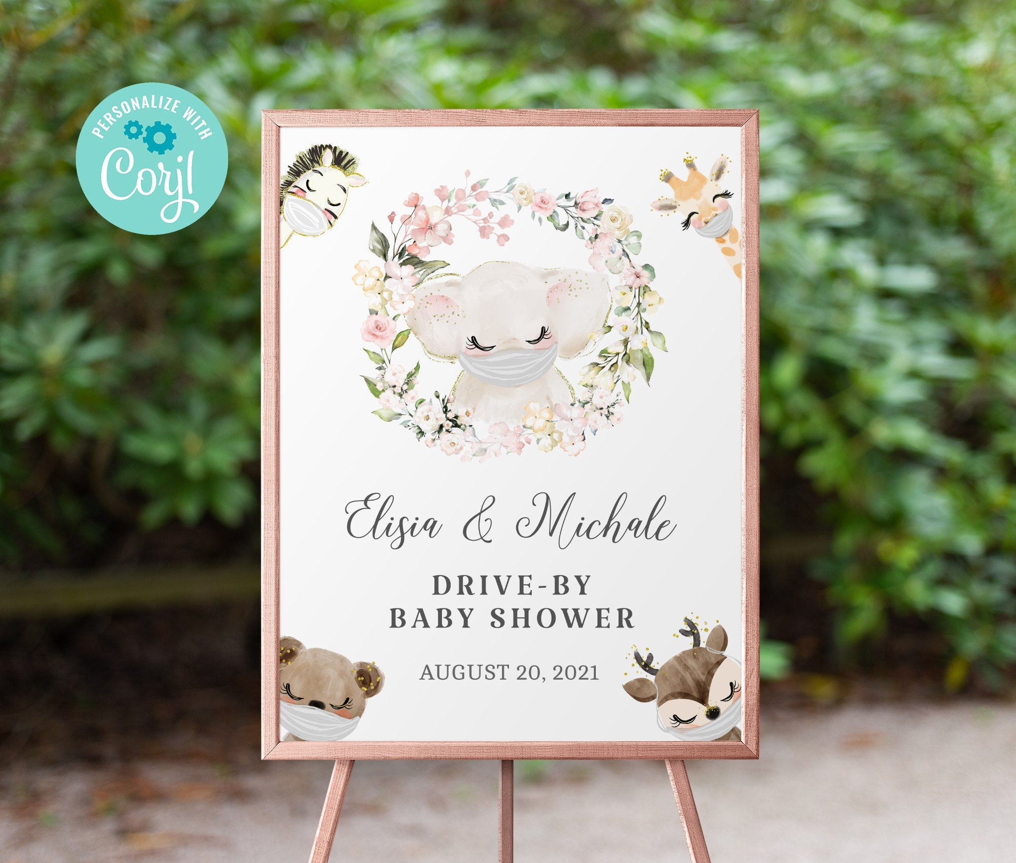 Drive By Baby Shower Welcome Sign Printable •  Elephant Editable Sign • Quarantine Baby Animals • Social Distancing Party • Instant BS3601