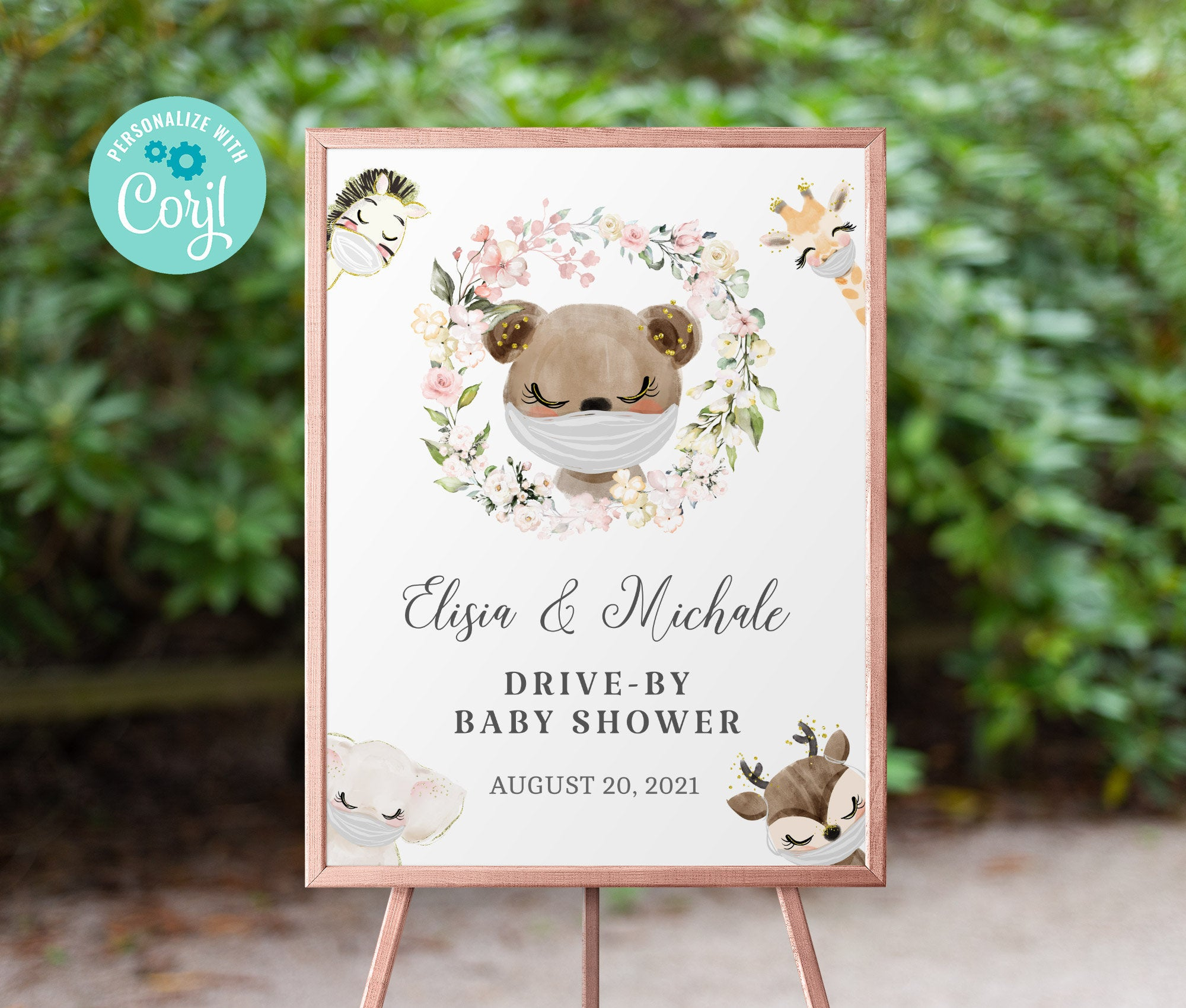 Drive By Baby Shower Welcome Sign Printable •  Bear Editable Sign • Quarantine Baby Animals • Social Distancing Party • Instant BS3601