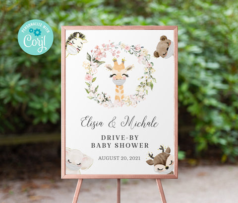 Drive By Baby Shower Welcome Sign Printable •  Giraffe Editable Sign • Quarantine Baby Animals • Social Distancing Party • Instant BS3601