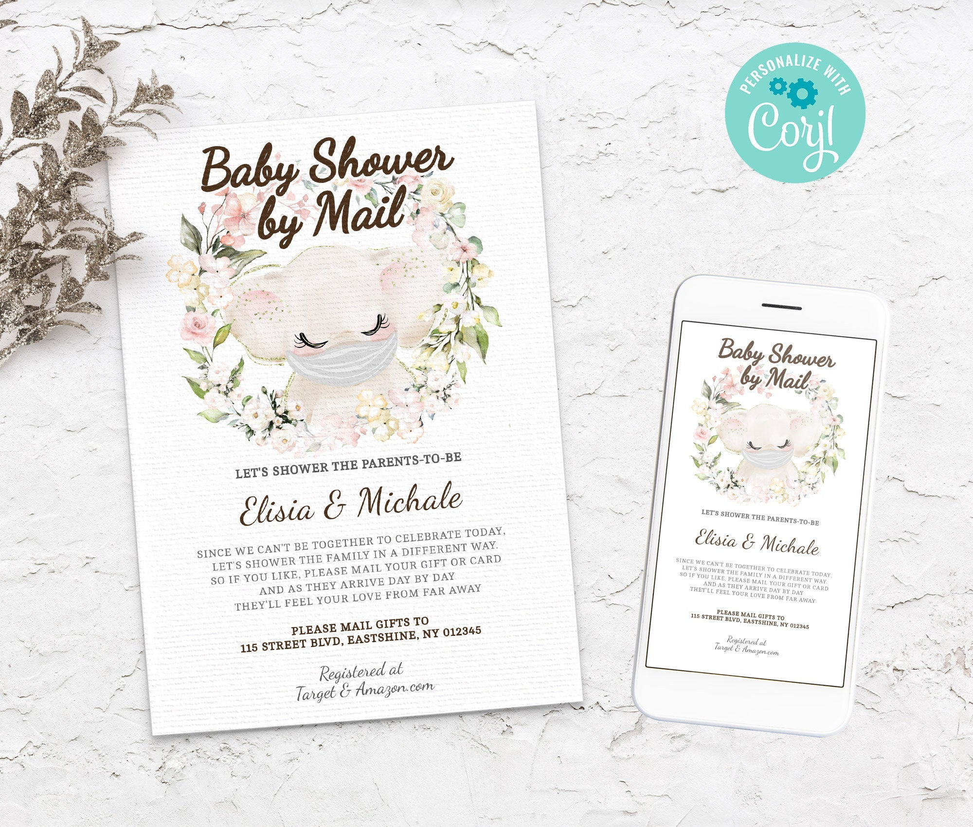 Baby Shower by Mail Elephant Template - Baby shower invitation - Shower by Mail, Shower invite,  Editable Text, Instant Download,3614 BS3601