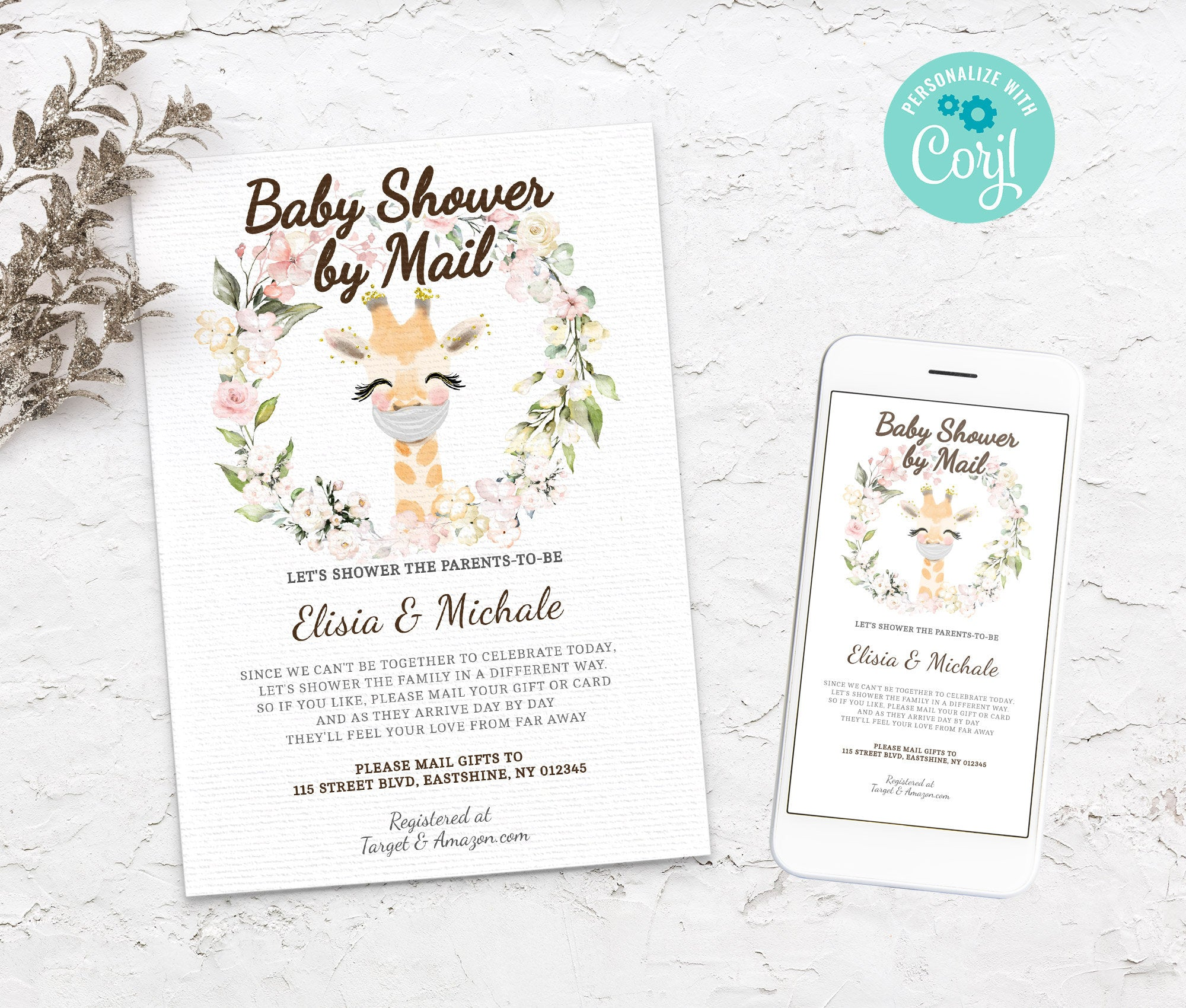 Baby Shower by Mail Giraffe Template - Baby shower invitation - Shower by Mail, Shower invite,  Editable Text, Instant Download,3614 BS3601
