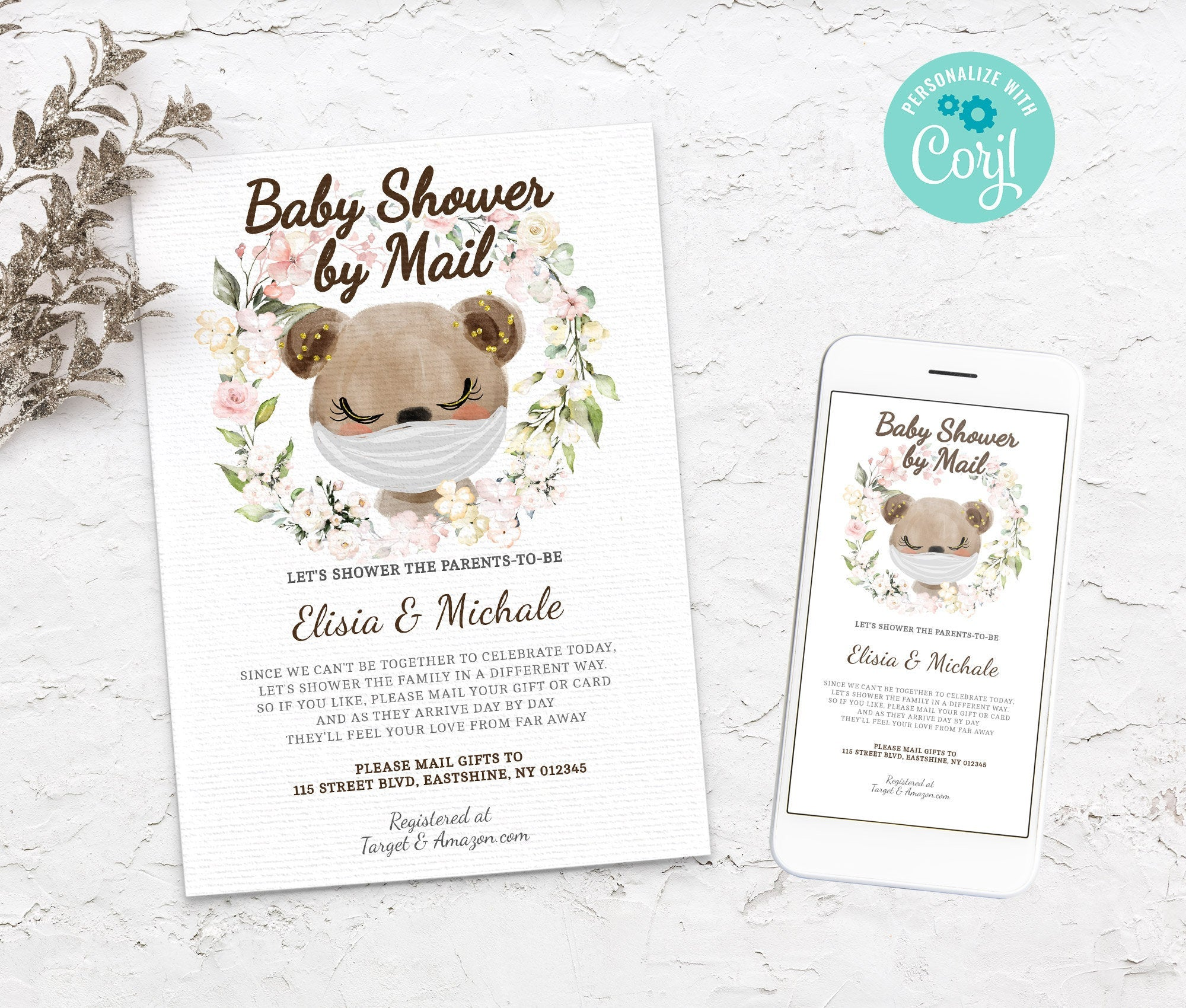 Baby Shower by Mail Bear Template - Baby shower invitation - Shower by Mail, Shower invite,  Editable Text, Instant Download,3614 BS3601