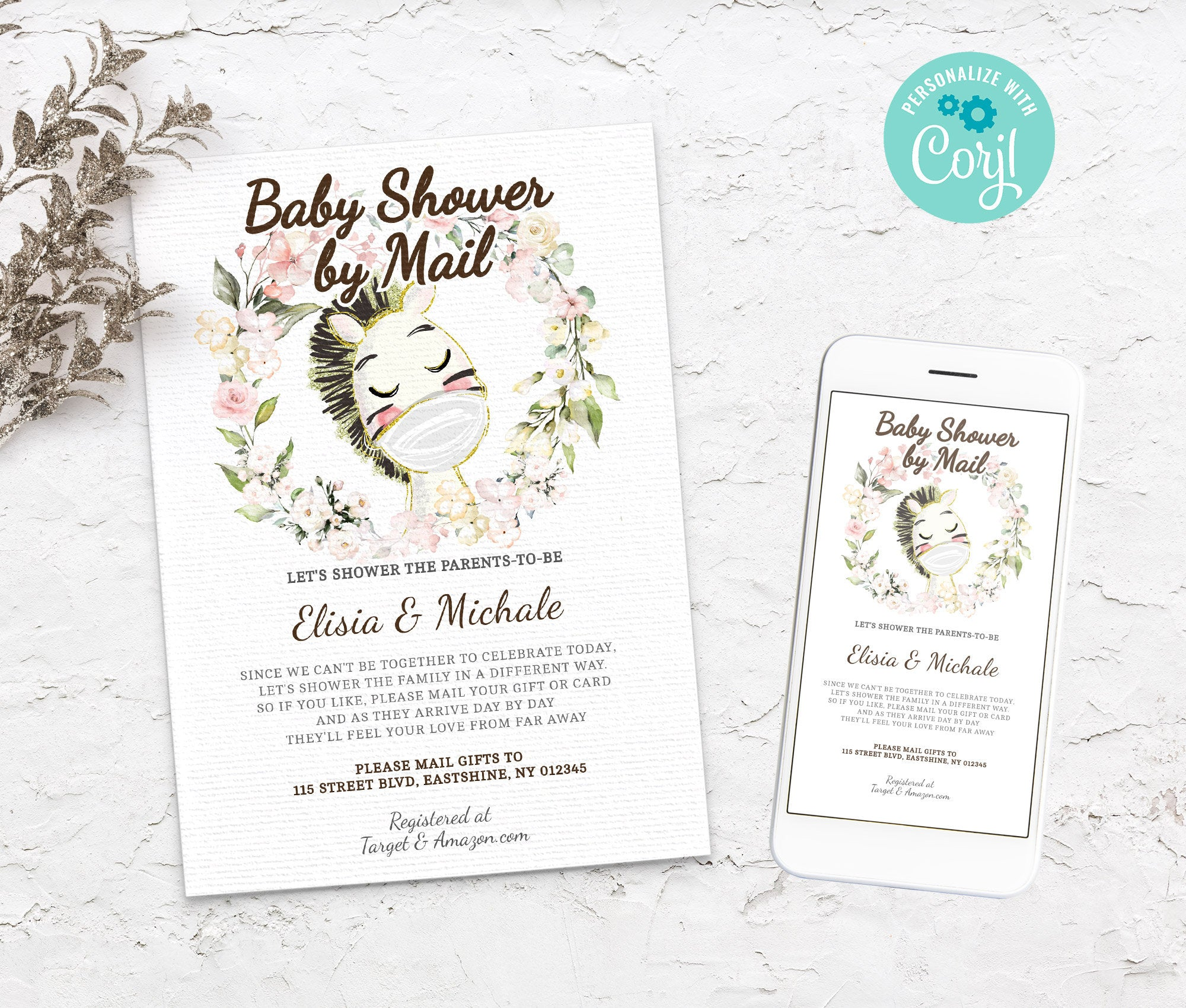 Baby Shower by Mail Horse Template - Baby shower invitation - Shower by Mail, Shower invite,  Editable Text, Instant Download,3614 BS3601