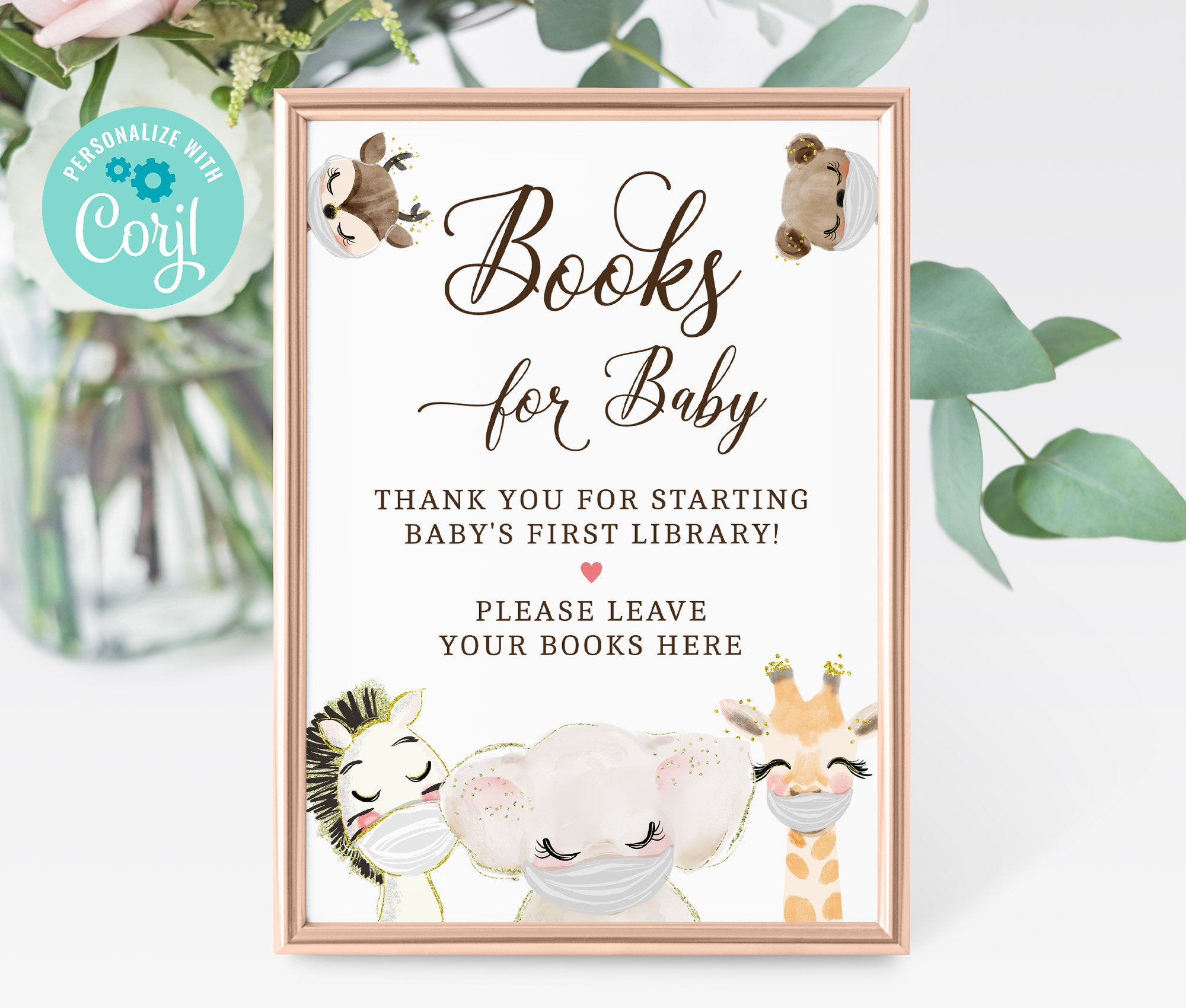 Books for Baby Sign - Printable Baby Shower Book for Baby Sign, Baby's Library, Animal Masked shower, Editable, Instant Download 3601 BS3601