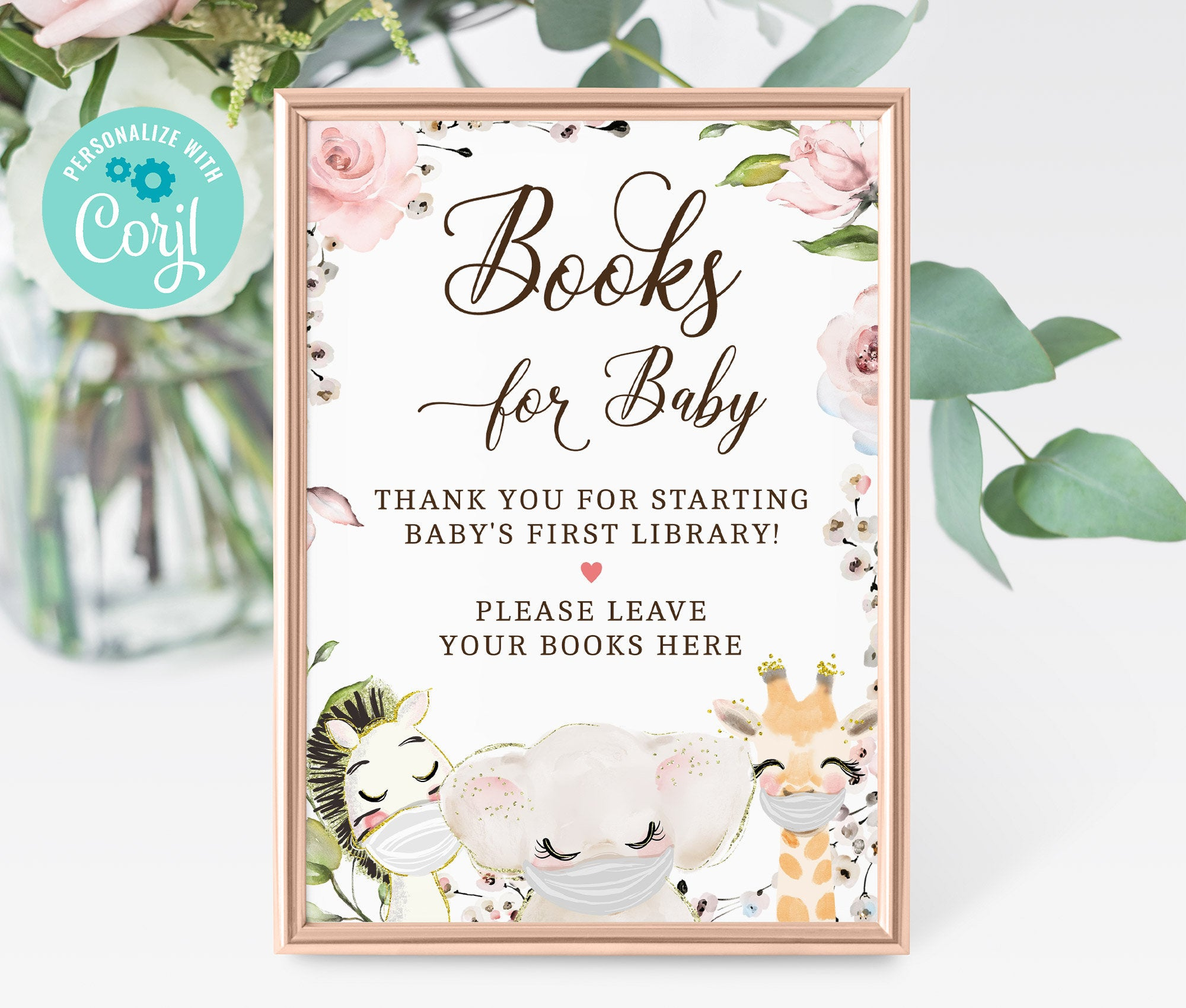 Books for Baby Sign, Printable Baby Shower Book for Baby Sign, Baby's Library, Animals Masked shower, Editable, Instant Download 3602 BS3601