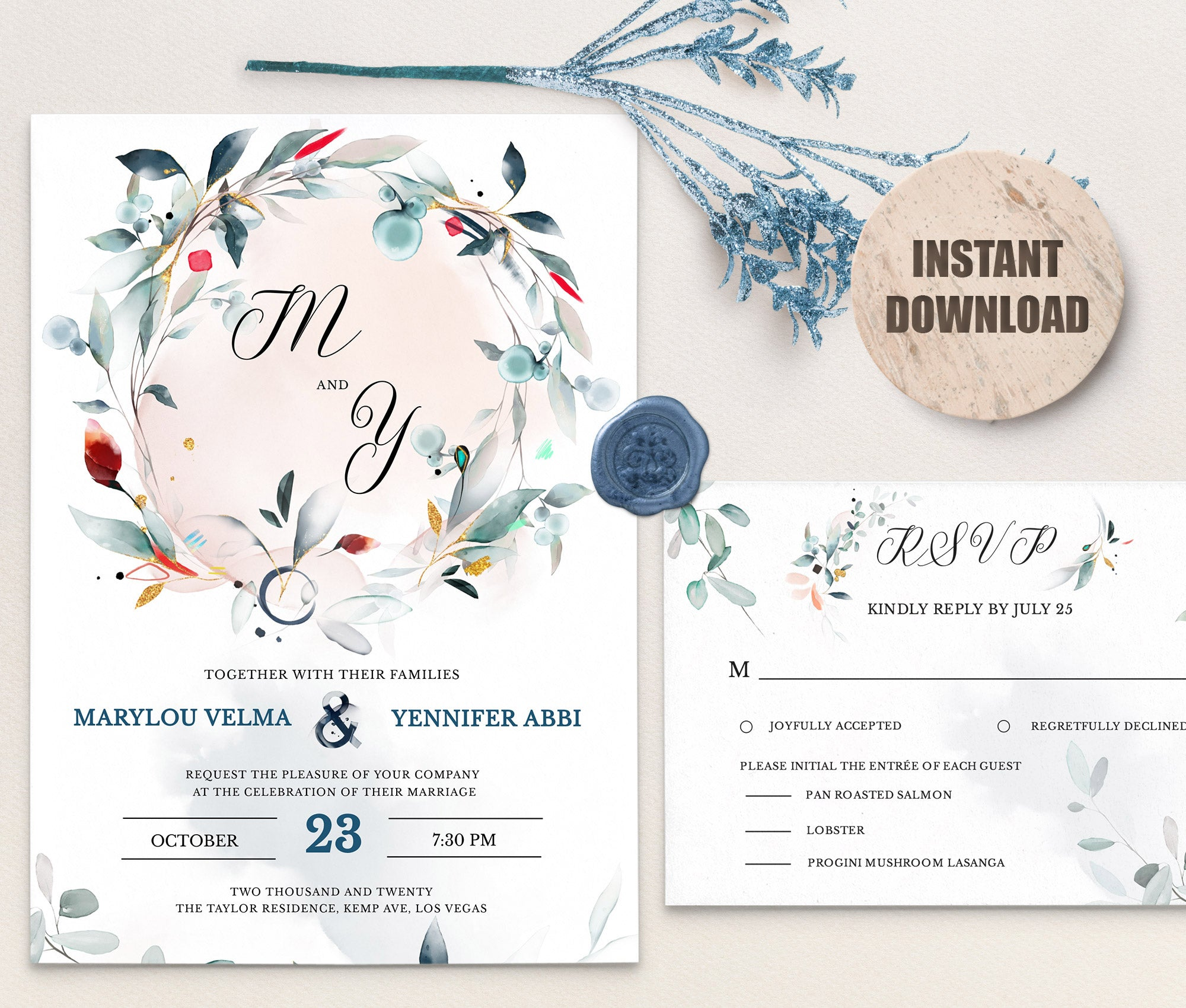 SPMR - Wedding Invitation and RSVP set 1 - Greenlanderdesign