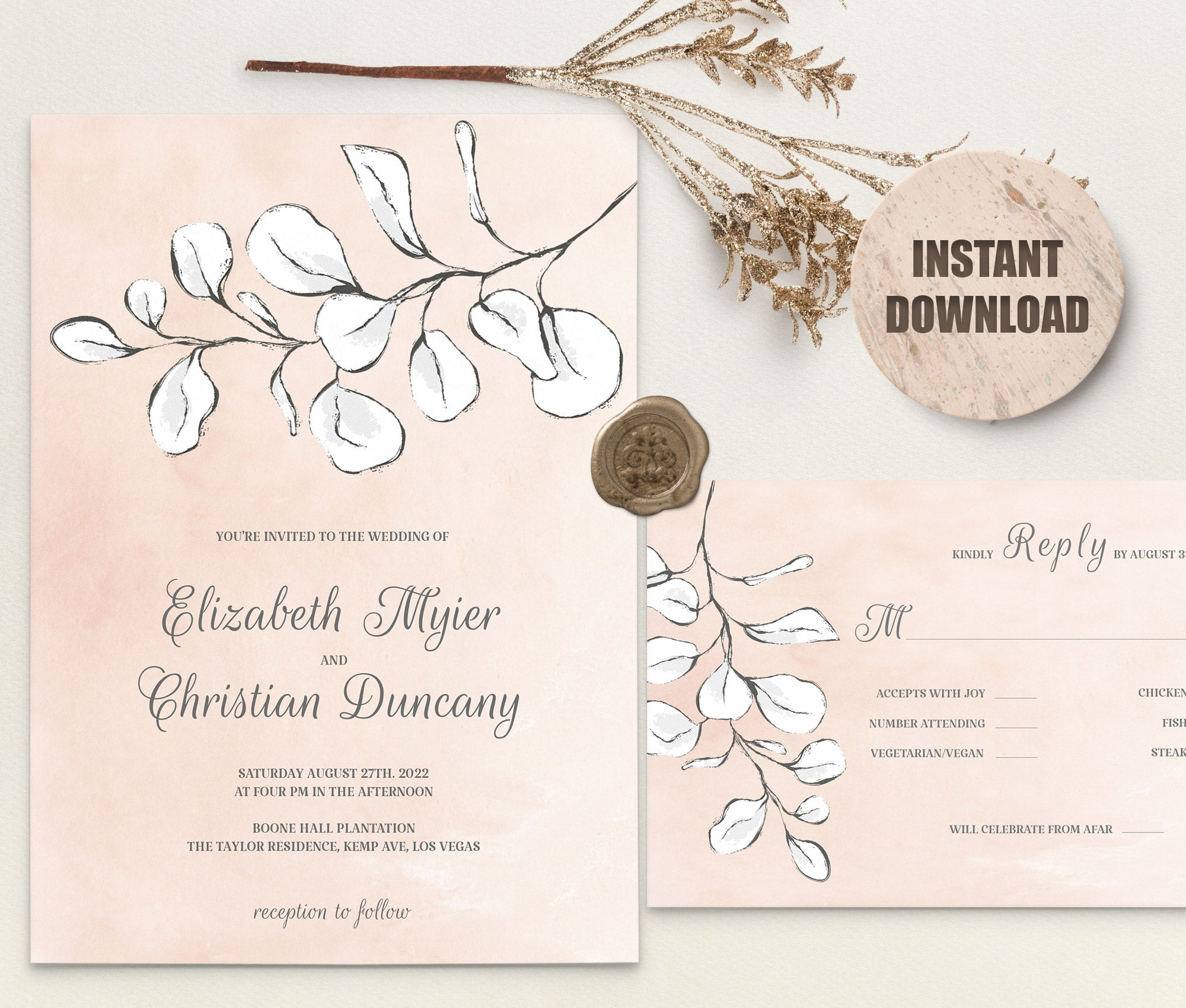 REMA Wedding Invitation and RSVP set