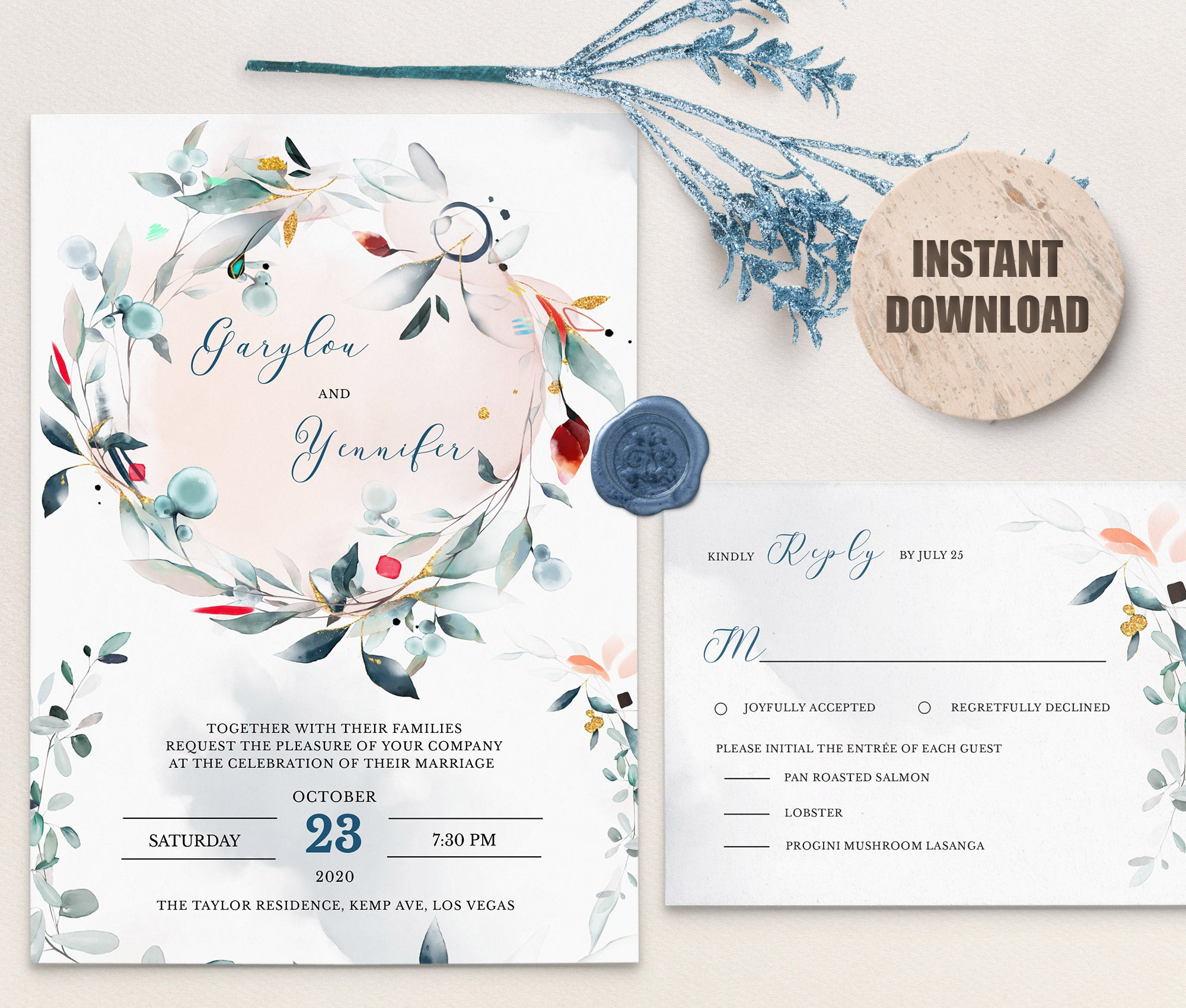 SPMR - Wedding Invitation and RSVP set 2 - Greenlanderdesign
