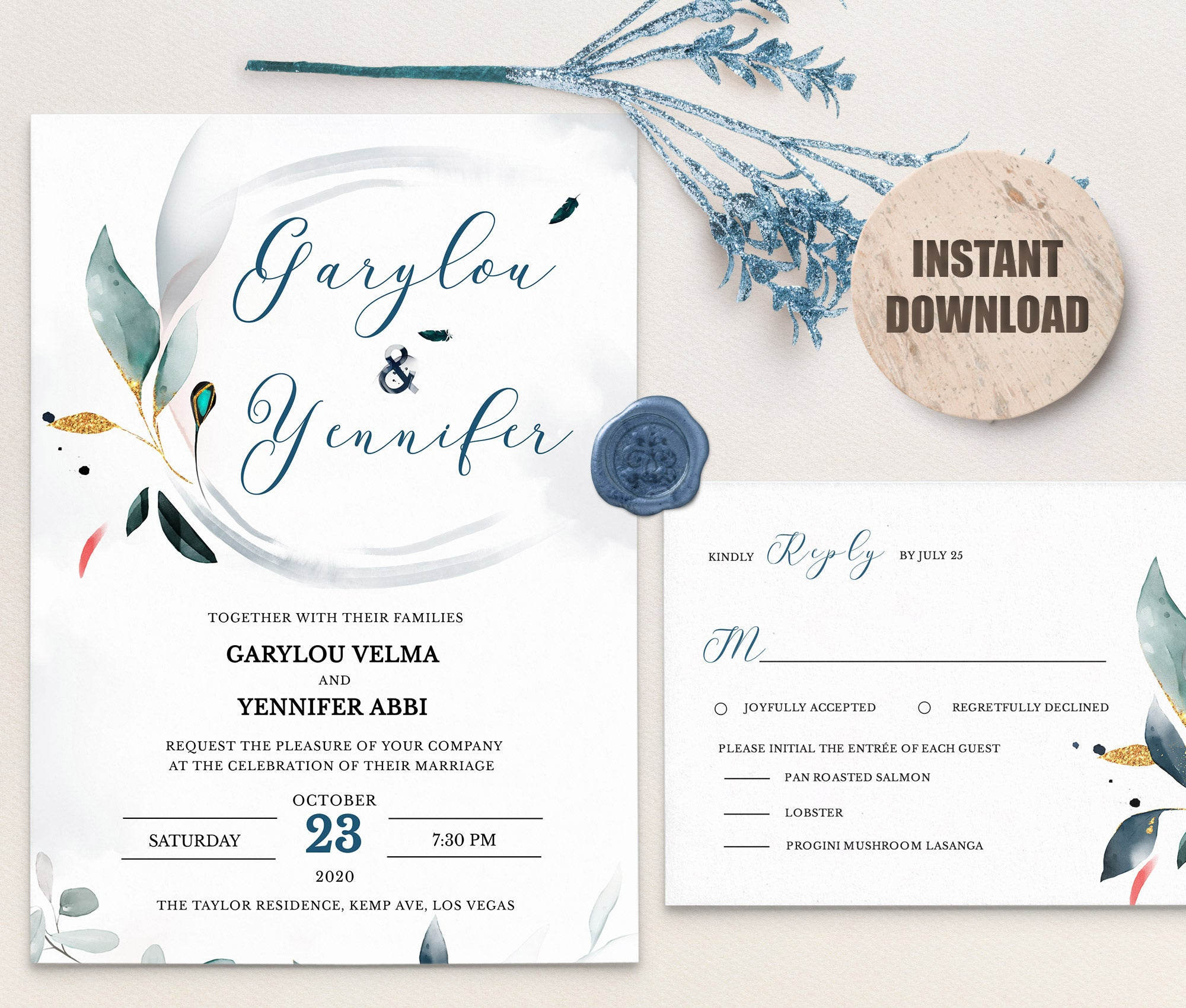 SPMR - Wedding Invitation and RSVP set 5 - Greenlanderdesign