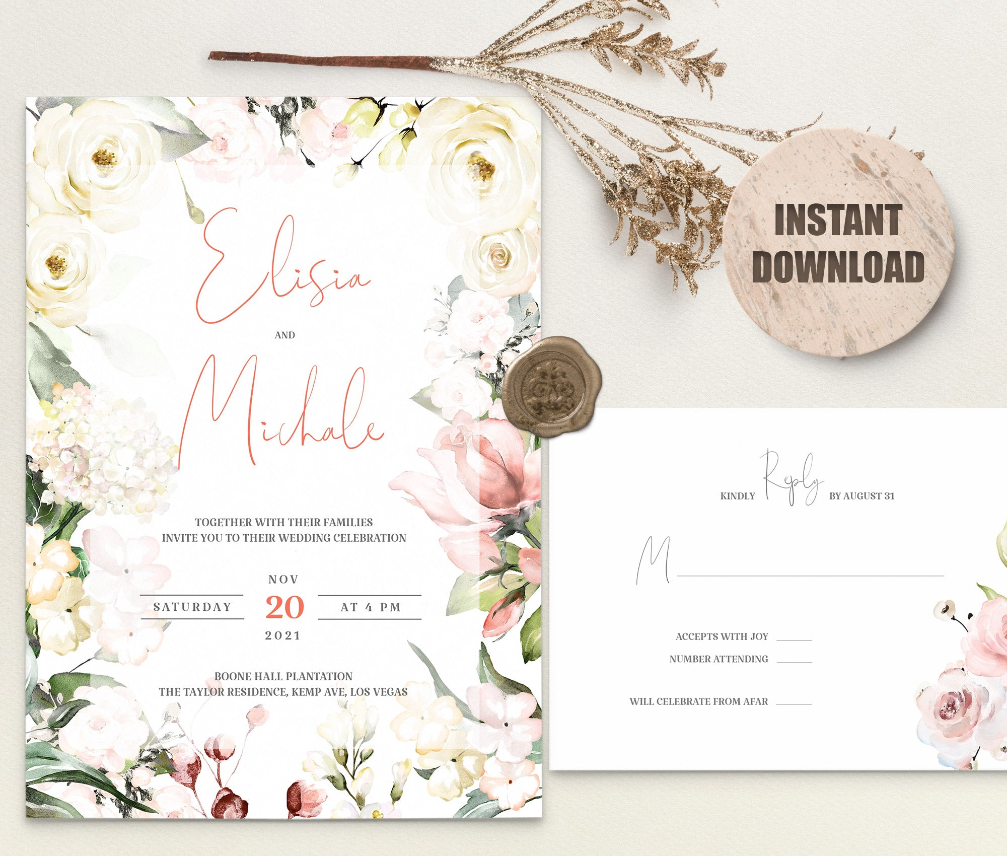 LOVAL Wedding Invitation Template set 11