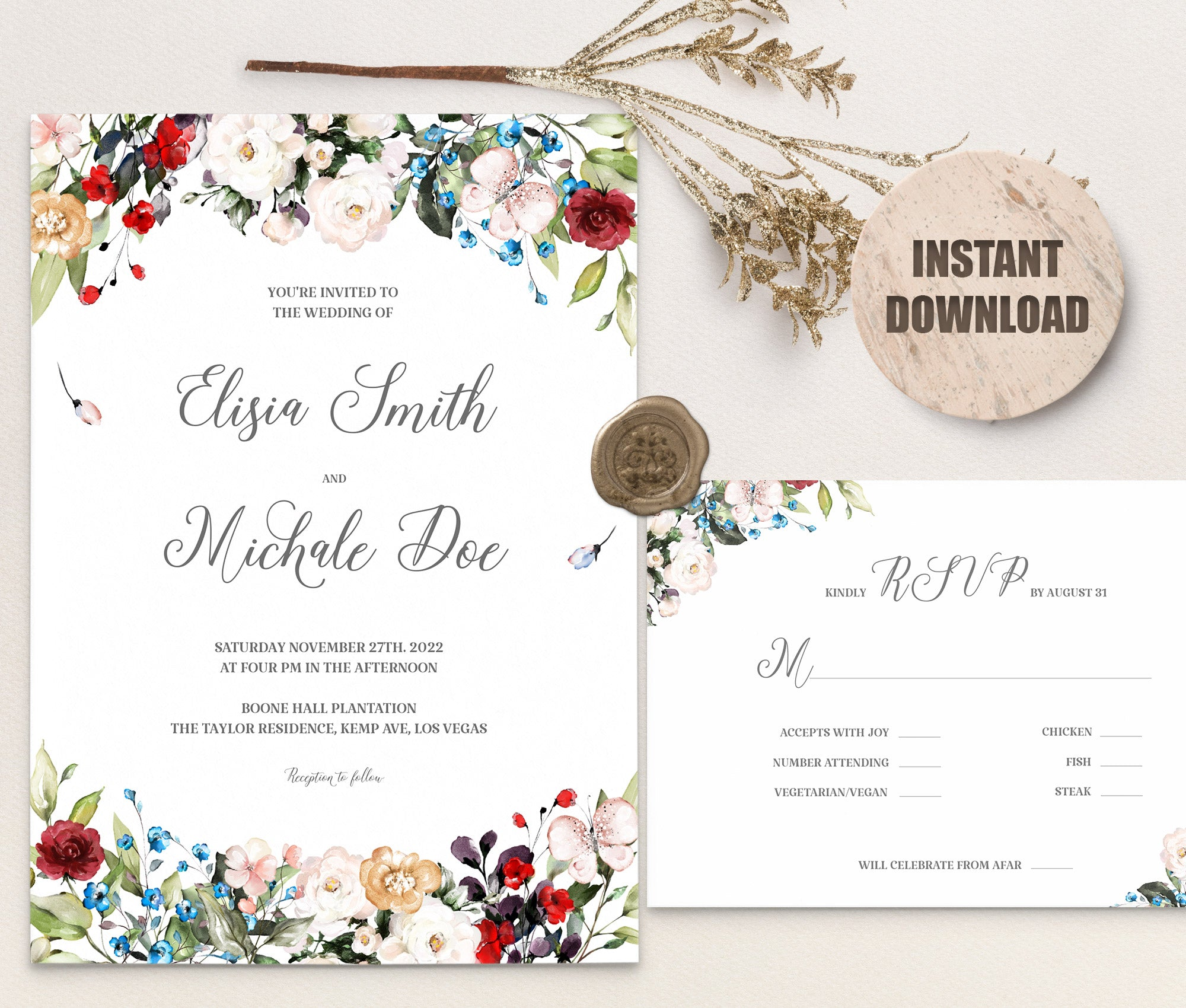 LOVAL Wedding Invitation and RSVP set 4