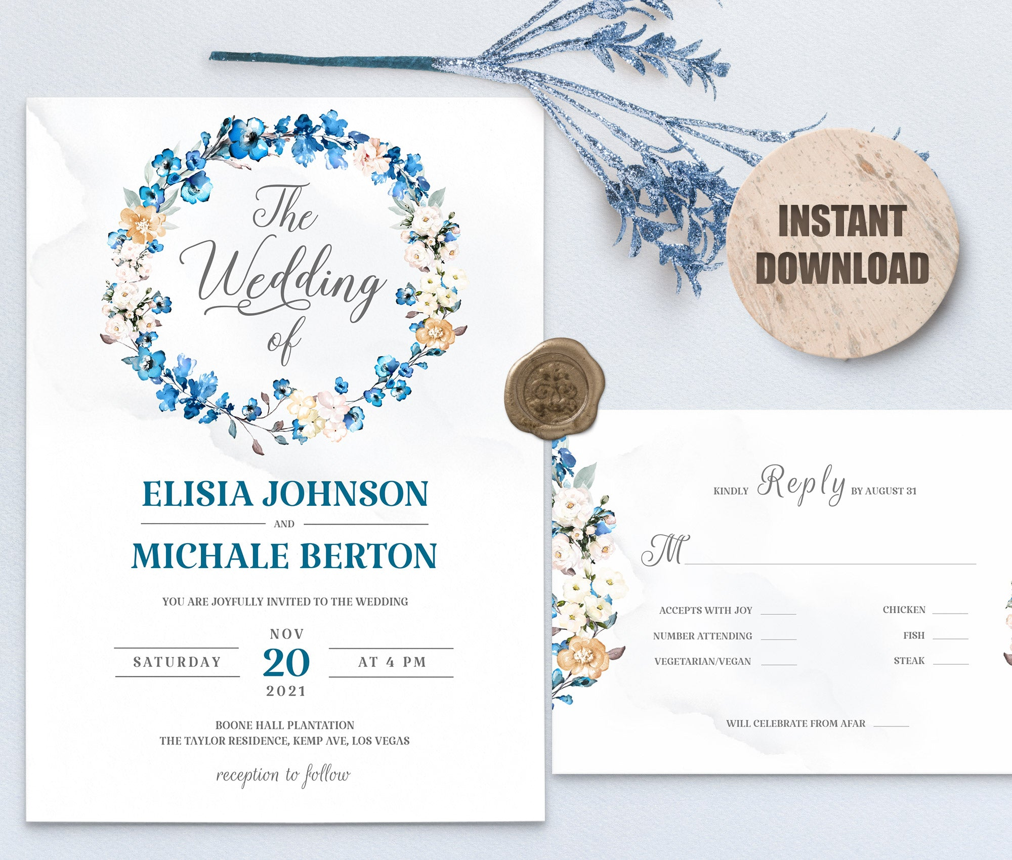 MELLY Wedding Invitation and RSVP set 3