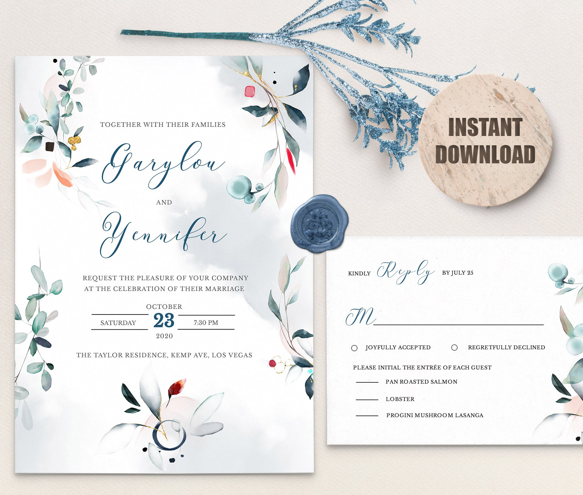 SPMR - Wedding Invitation and RSVP set 10 - Greenlanderdesign