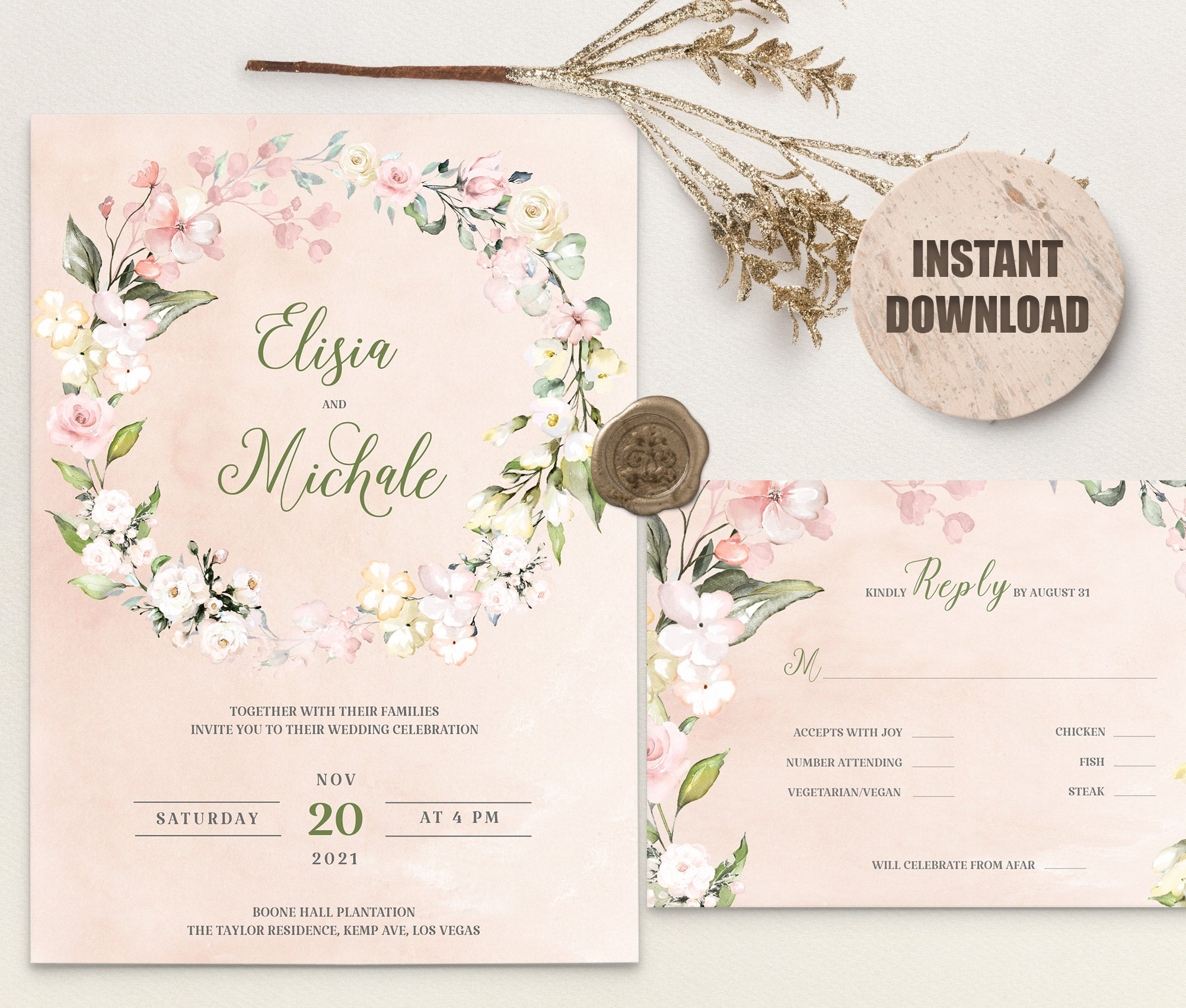 LOVAL Wedding Invitation and RSVP set 5