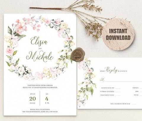 LOVAL Wedding Invitation and RSVP set 6
