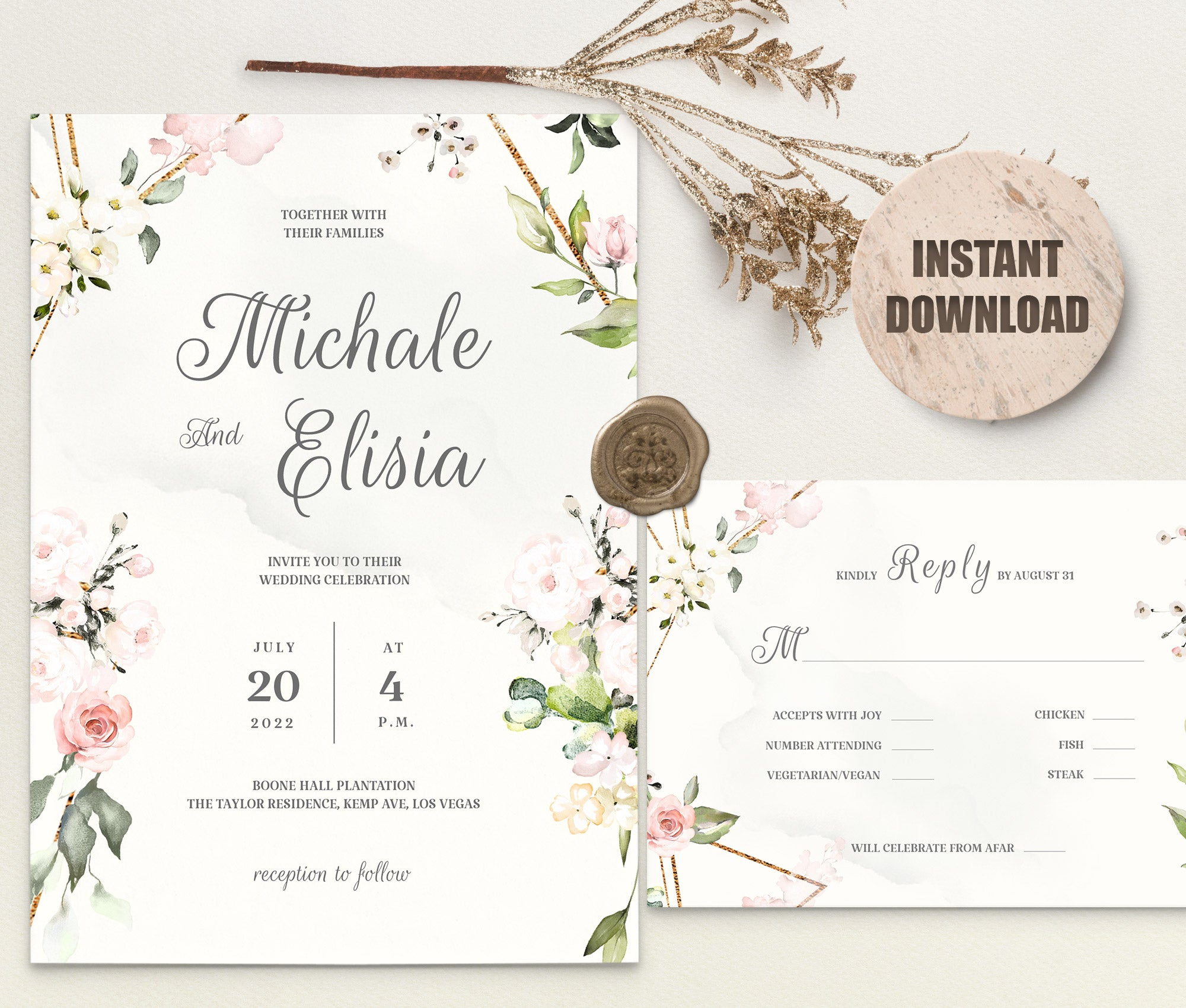 LOVAL Wedding Invitation and RSVP set 7