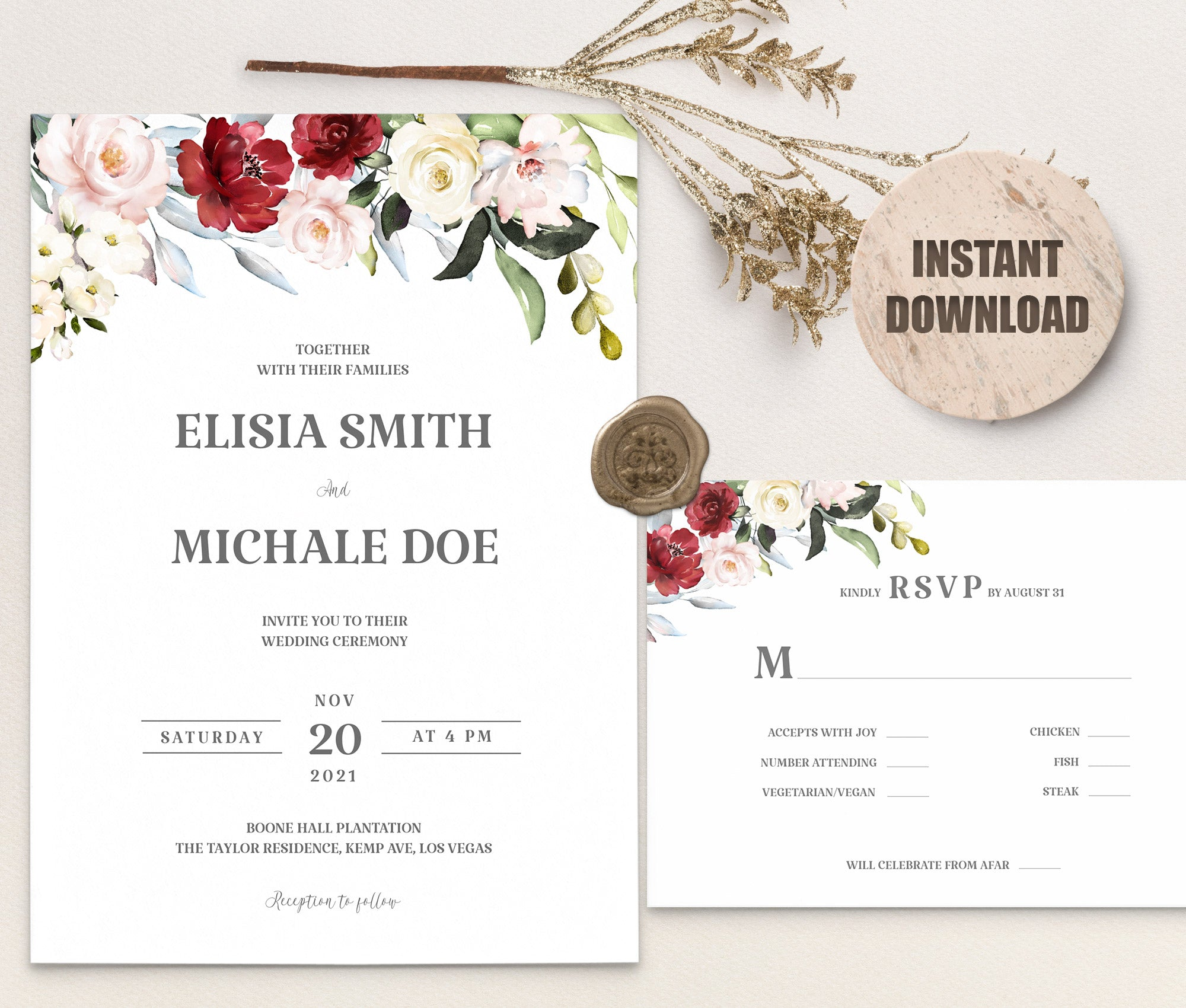 LOVAL Wedding Invitation and RSVP set 2